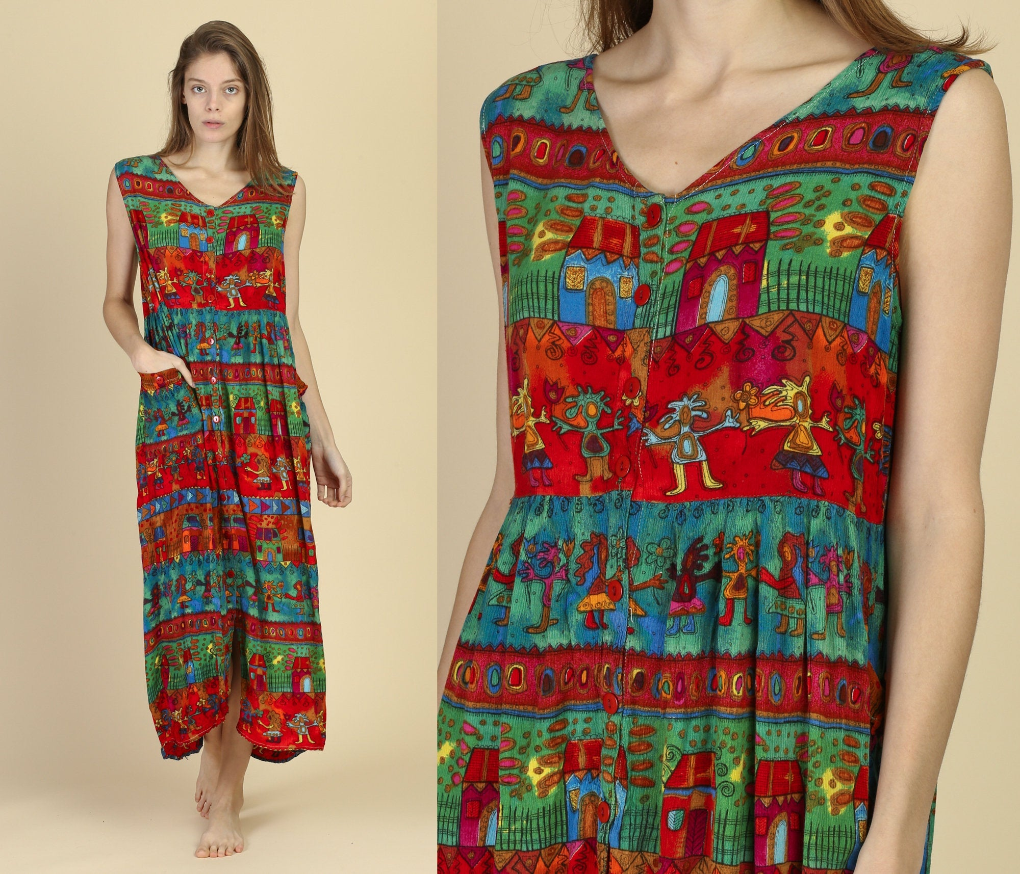 90s Boho Rayon Dress - Medium