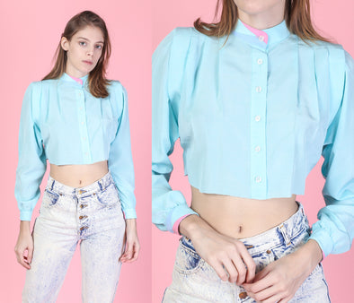 80s Cropped Baby Blue Striped Blouse - Extra Small