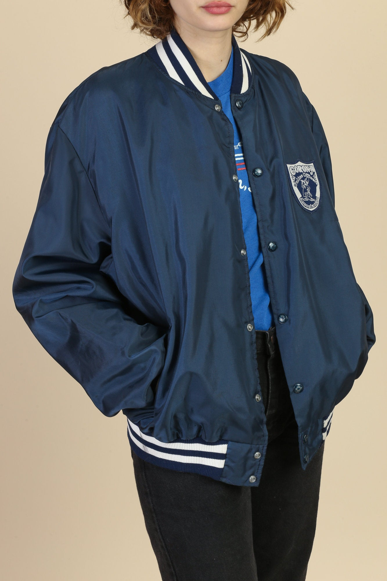 80s Corona Police Officers Varsity Windbreaker Jacket - Men's XL