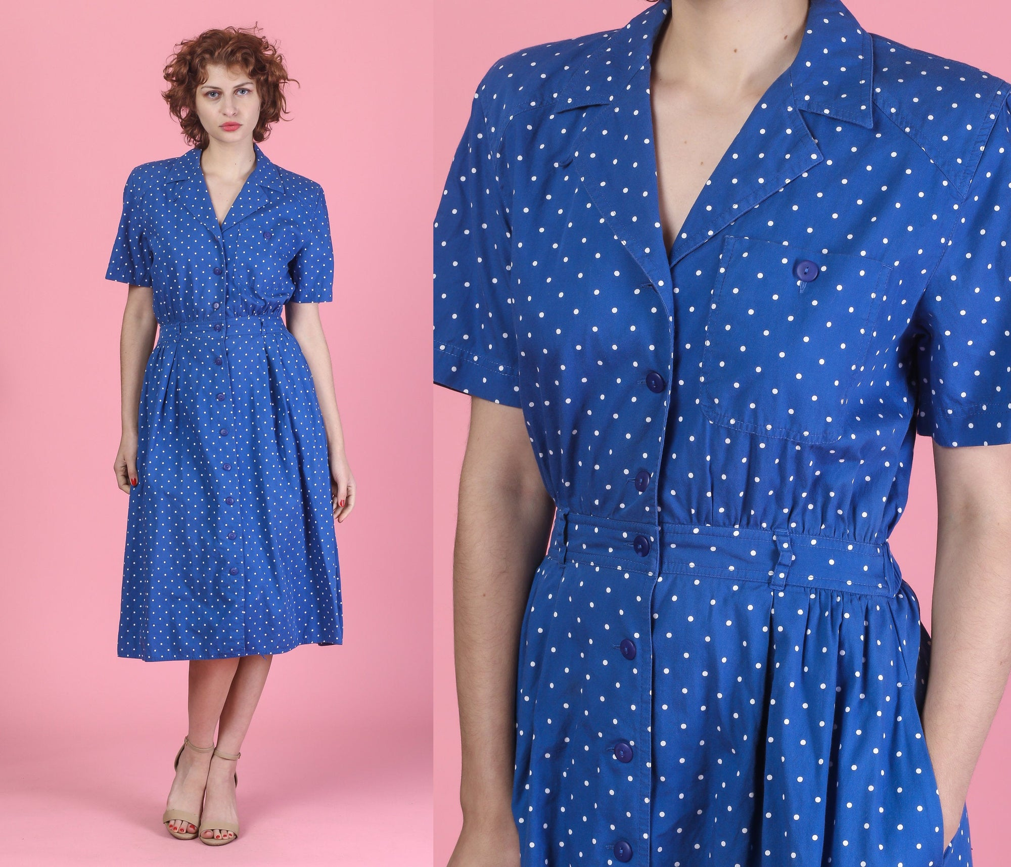 90s Blue Polka Dot Shirtdress - Small
