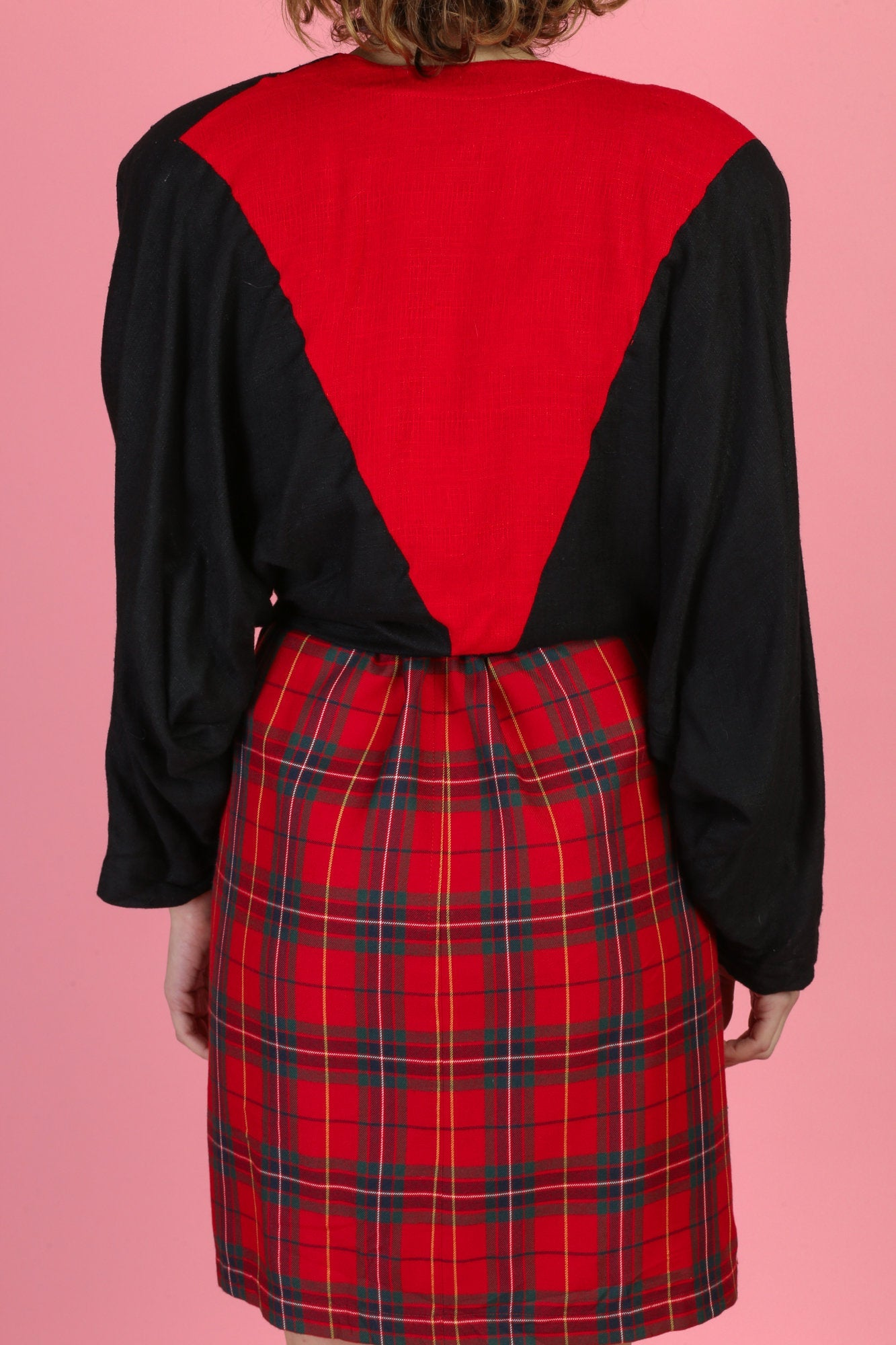 80s Red & Black Flax Tie Waist Blouse - Medium