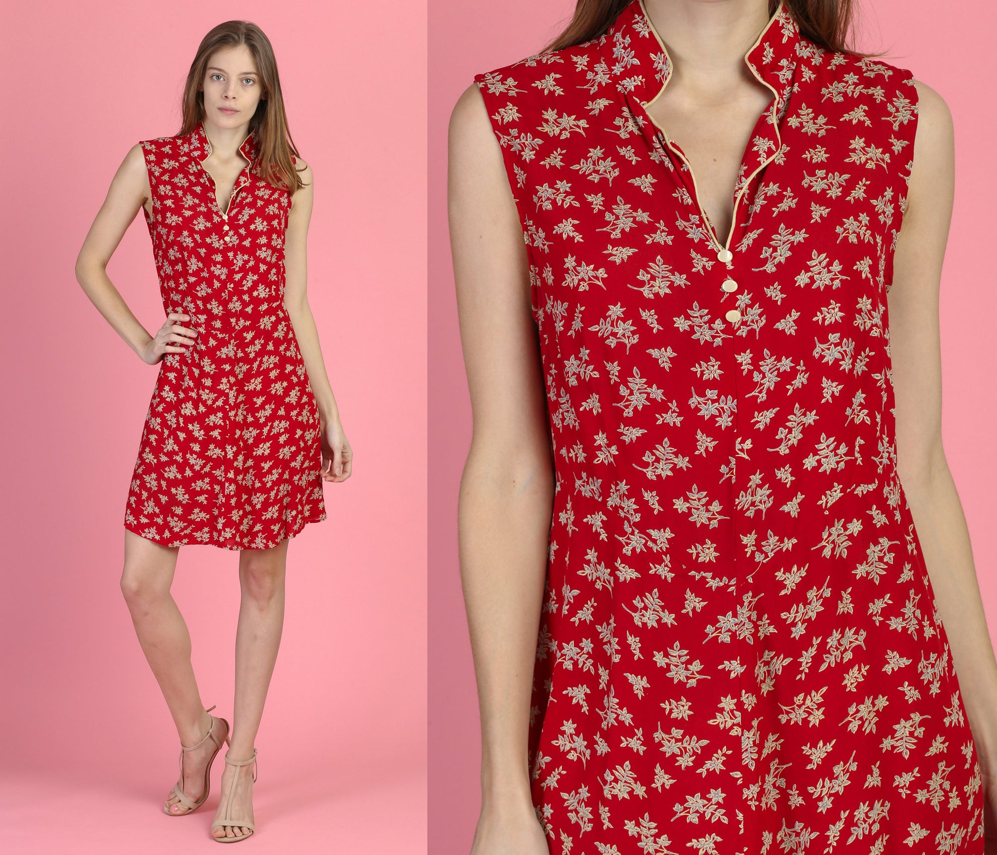 90s Red Floral Mini Dress - Large