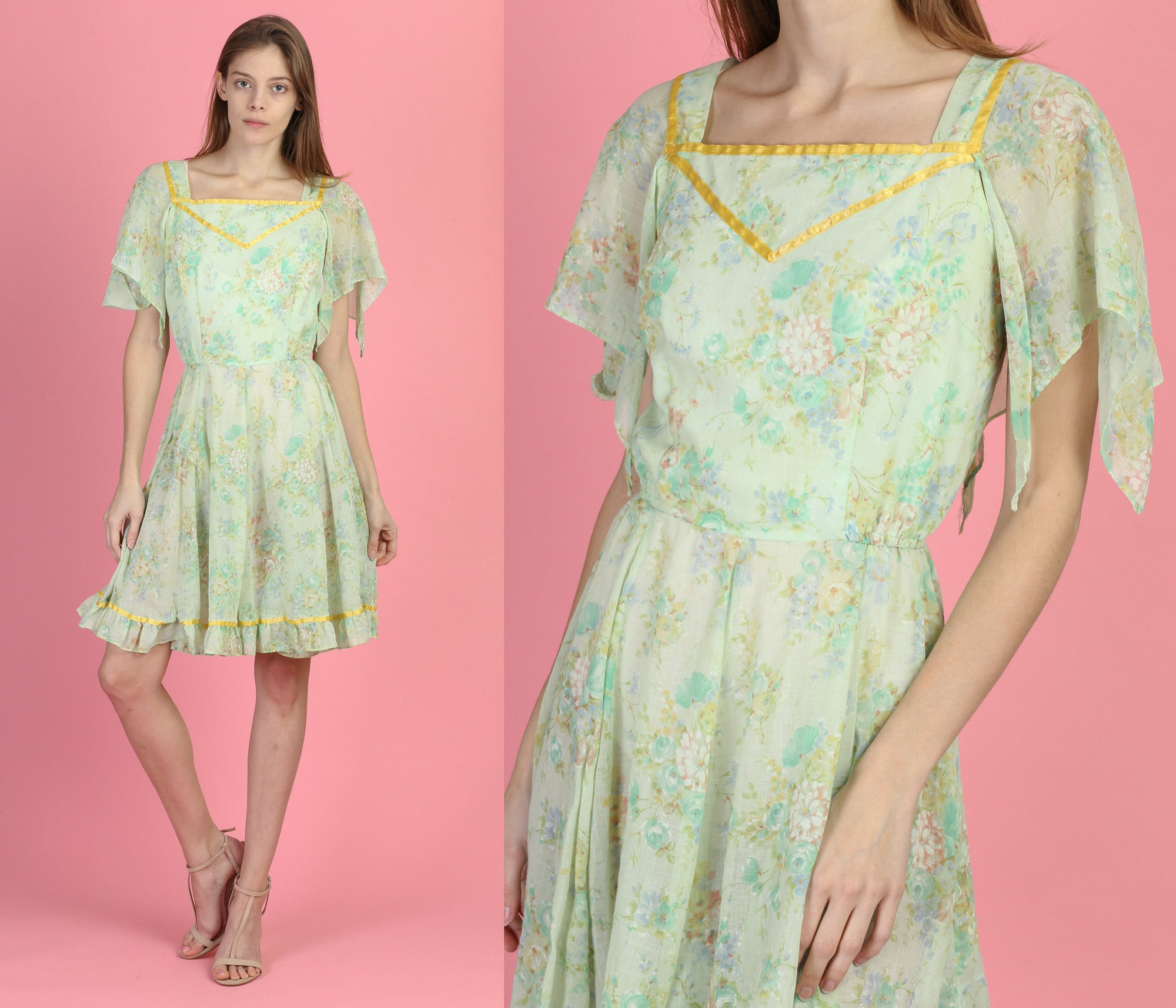 70s Boho Floral Flutter Sleeve Dress - Extra Small