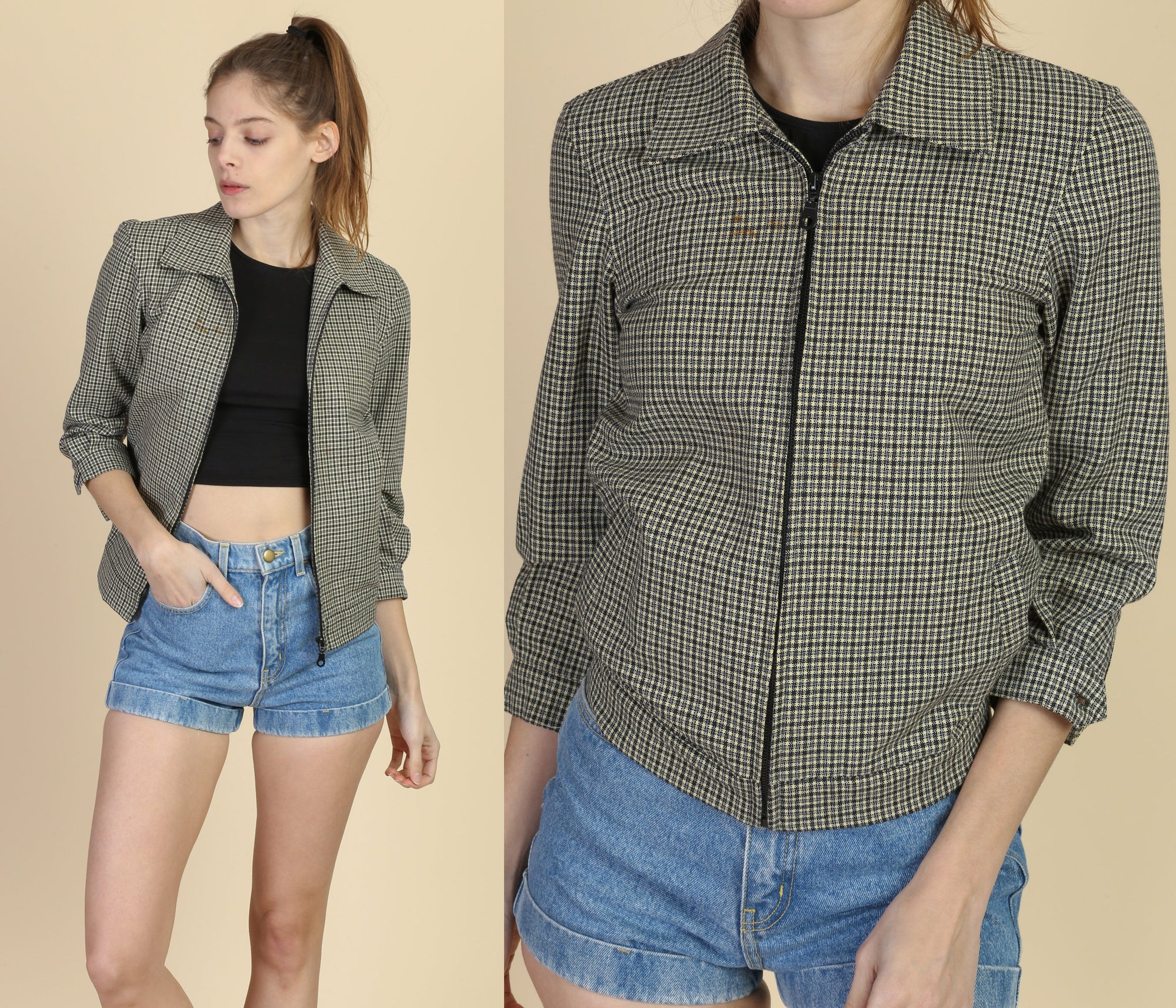 Vintage Plaid Zip Up Cropped Jacket - XXS