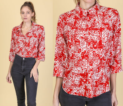 90s Geometric Button Up Cropped Blouse - Large to XL
