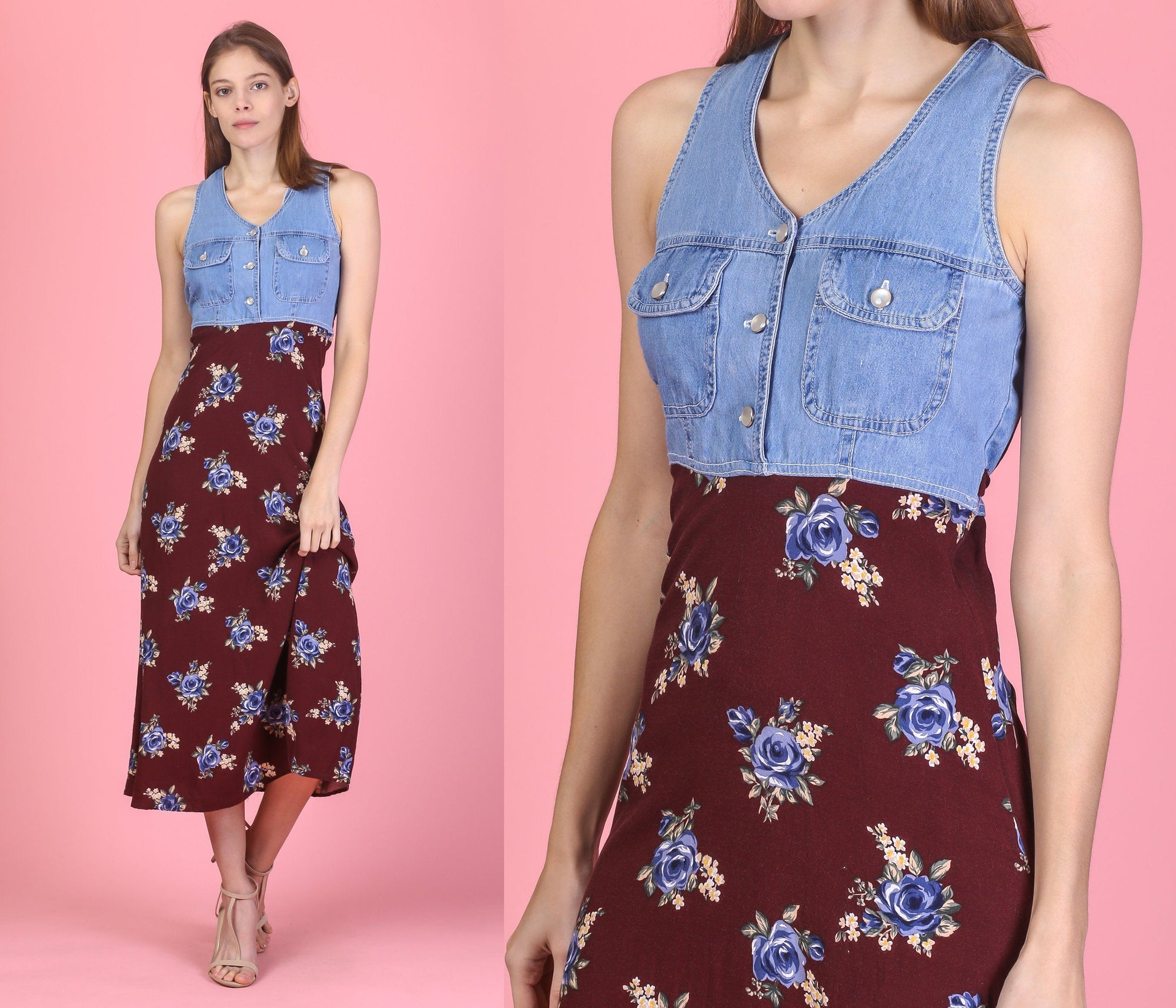 90s Grunge Denim Floral Midi Dress - Extra Small