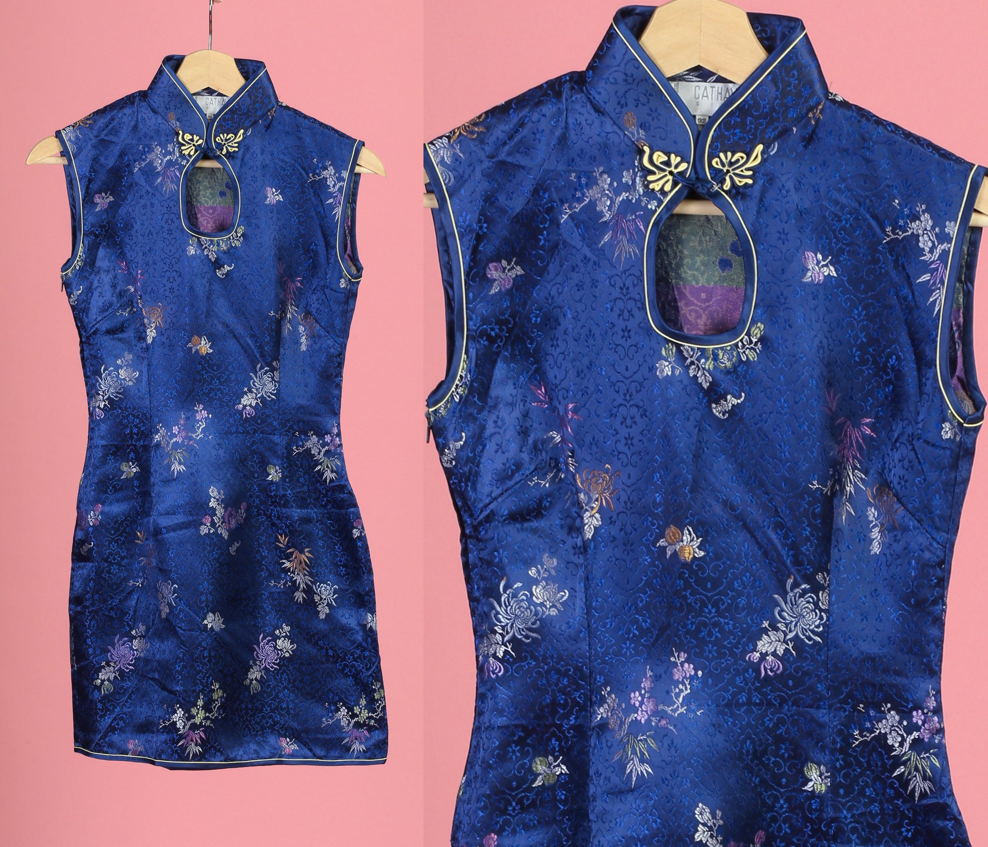Vintage Blue Cheongsam Mini Dress, Deadstock - XXS