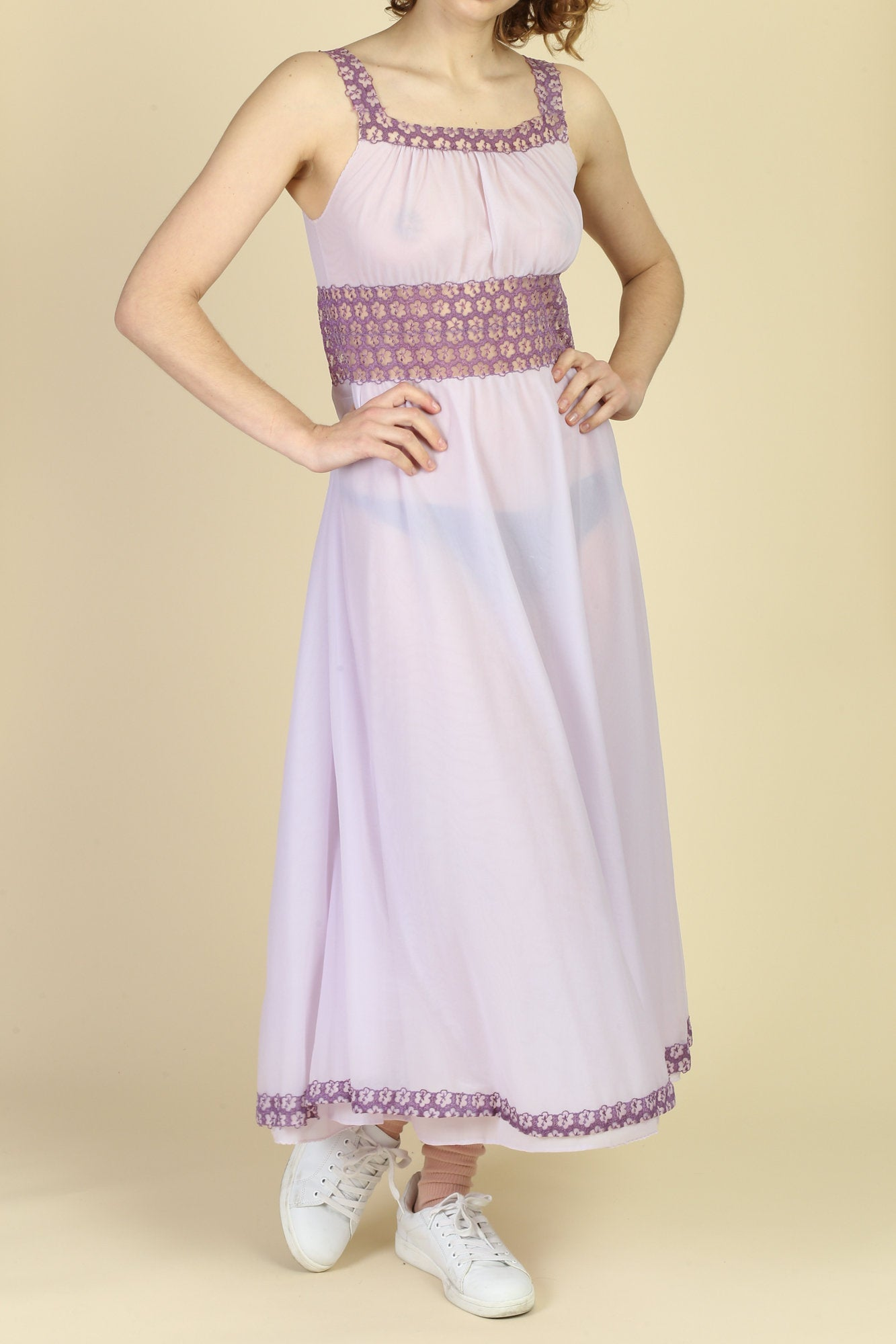 60s Lavender Floral Crochet Nightgown - Medium