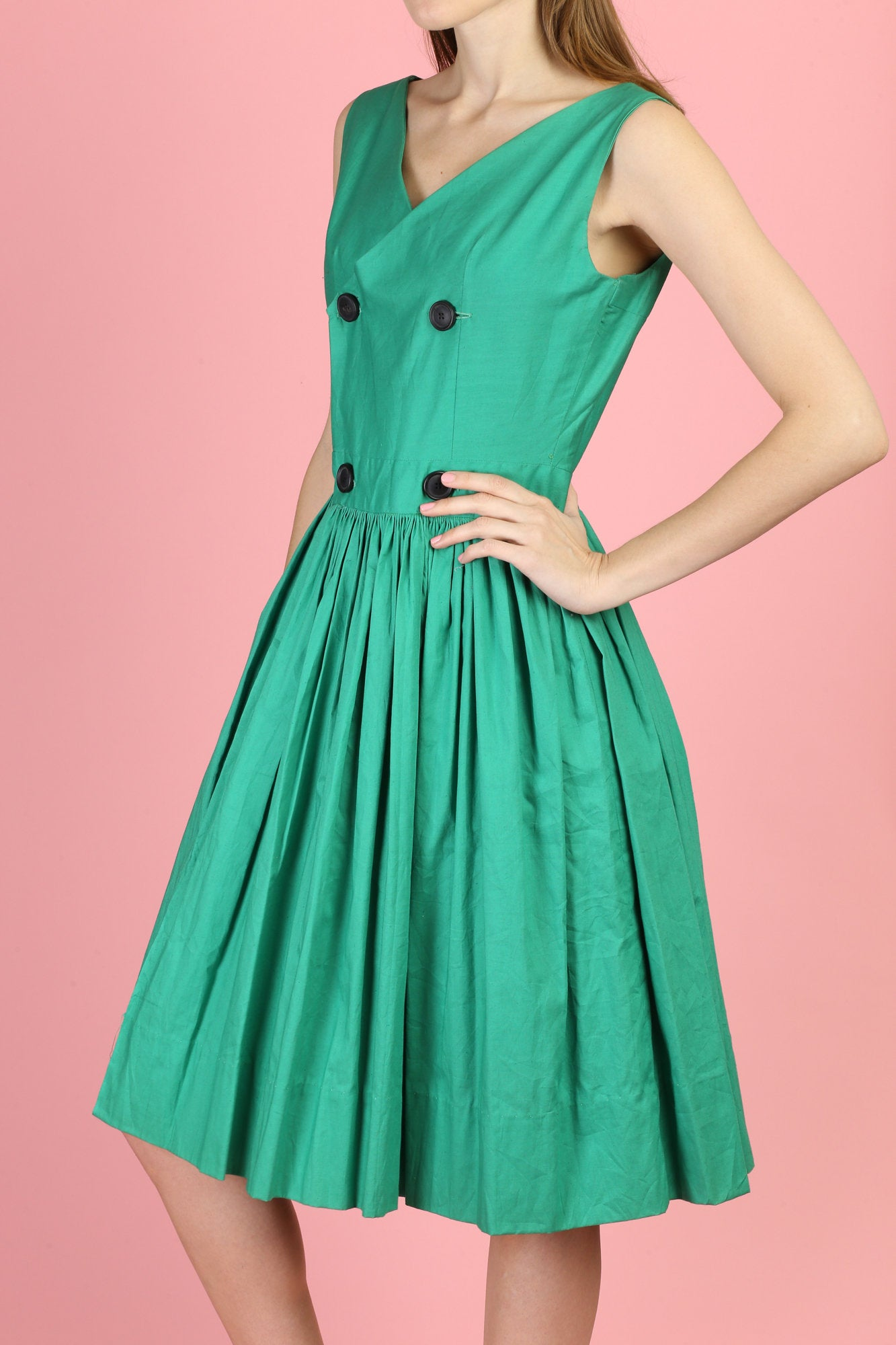 60s Green Button Up Mini Wrap Dress - Small
