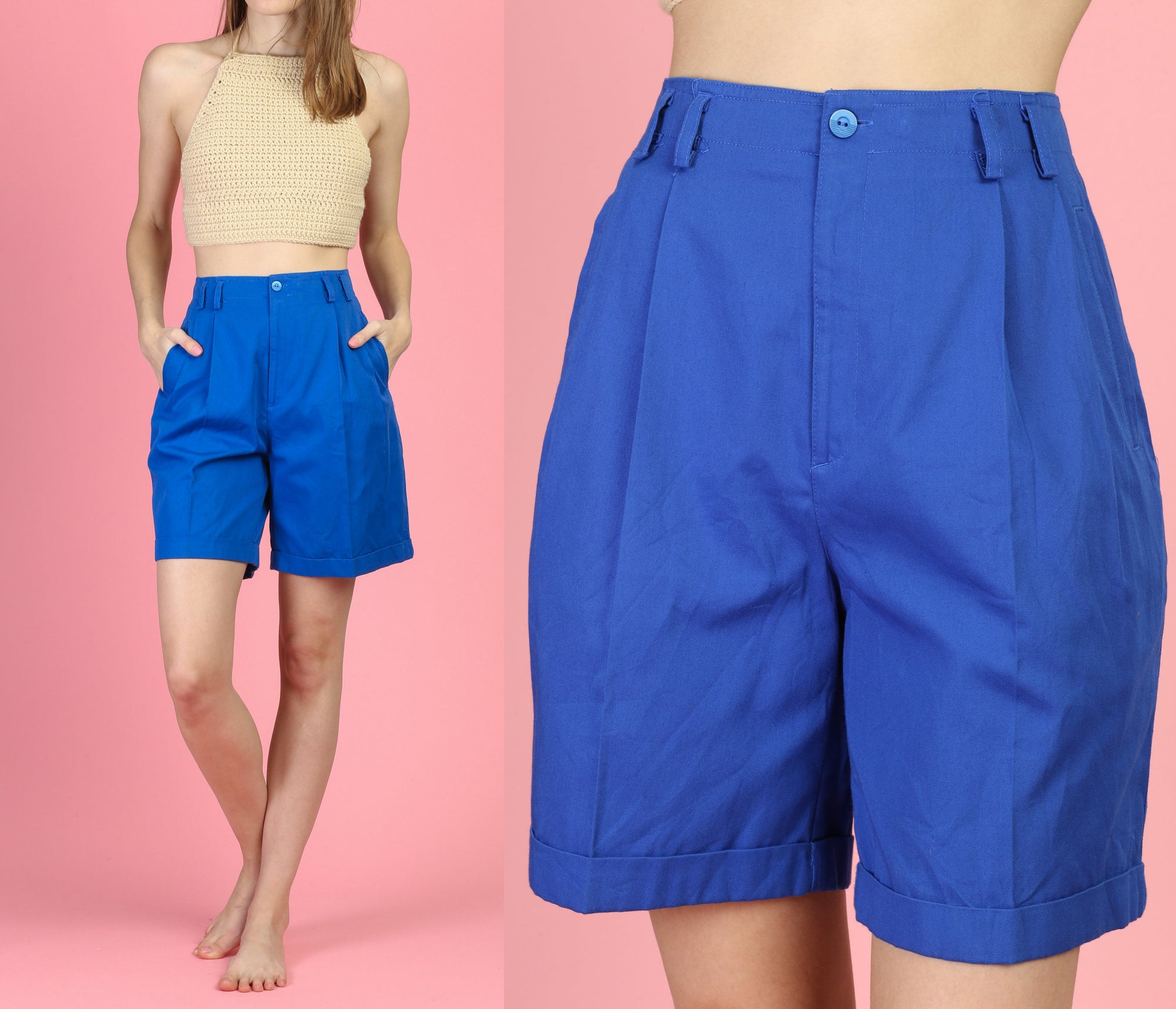 80s Royal Blue High Waist Trouser Shorts - Small