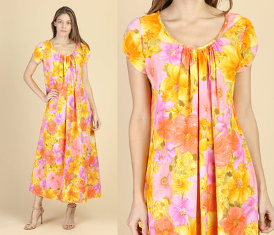 60s Hawaiian Floral Maxi Dress - Medium to Large
