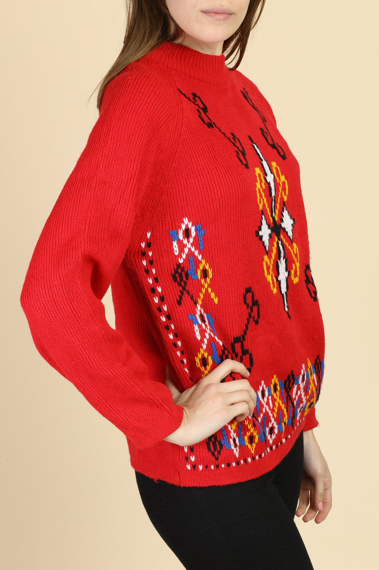 Vintage 70s Red Knit Sweater - Medium