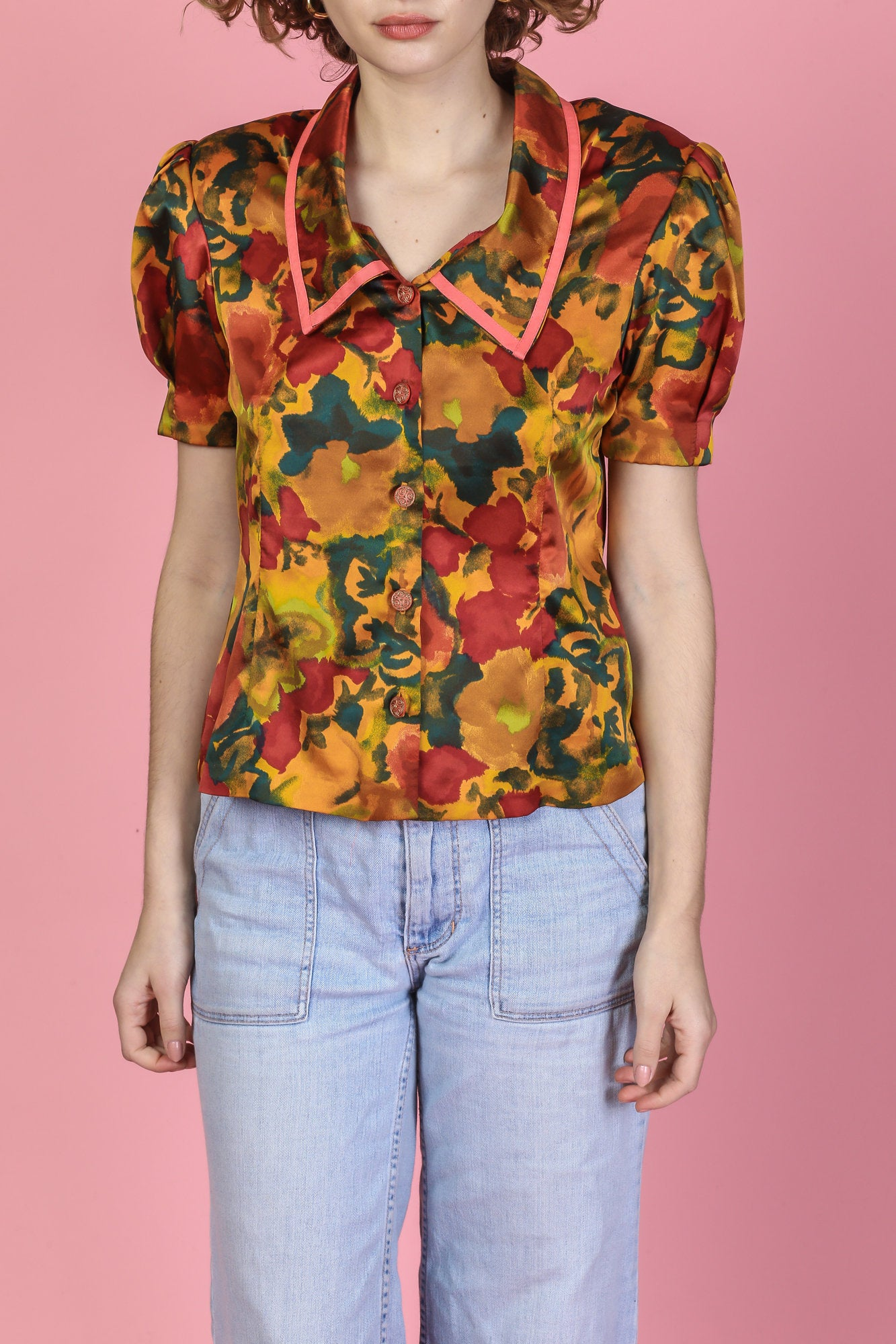 80s Fall Floral Cropped Blouse - Medium