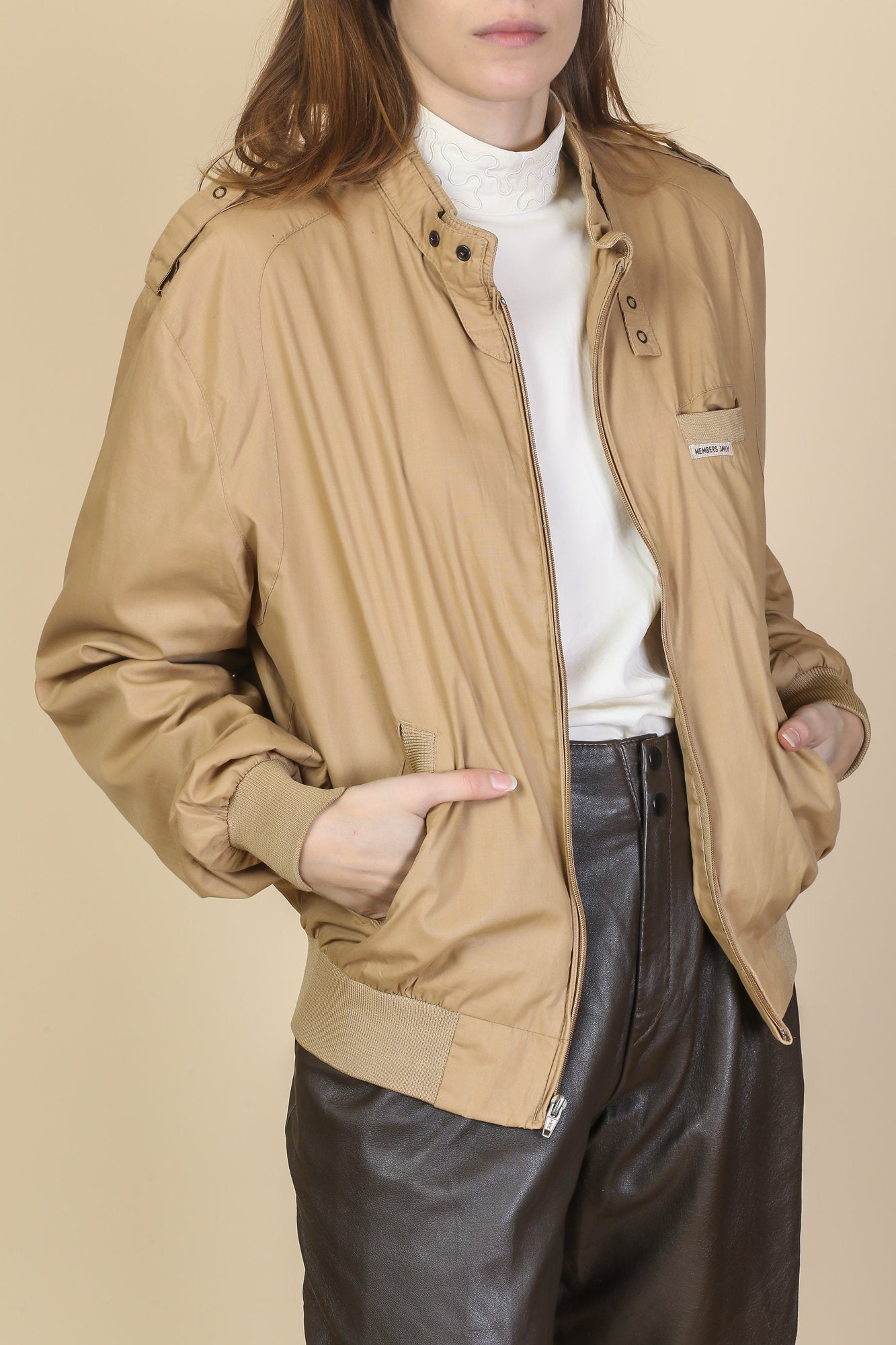 80s Tan Members Only Jacket - Men's Large, 44