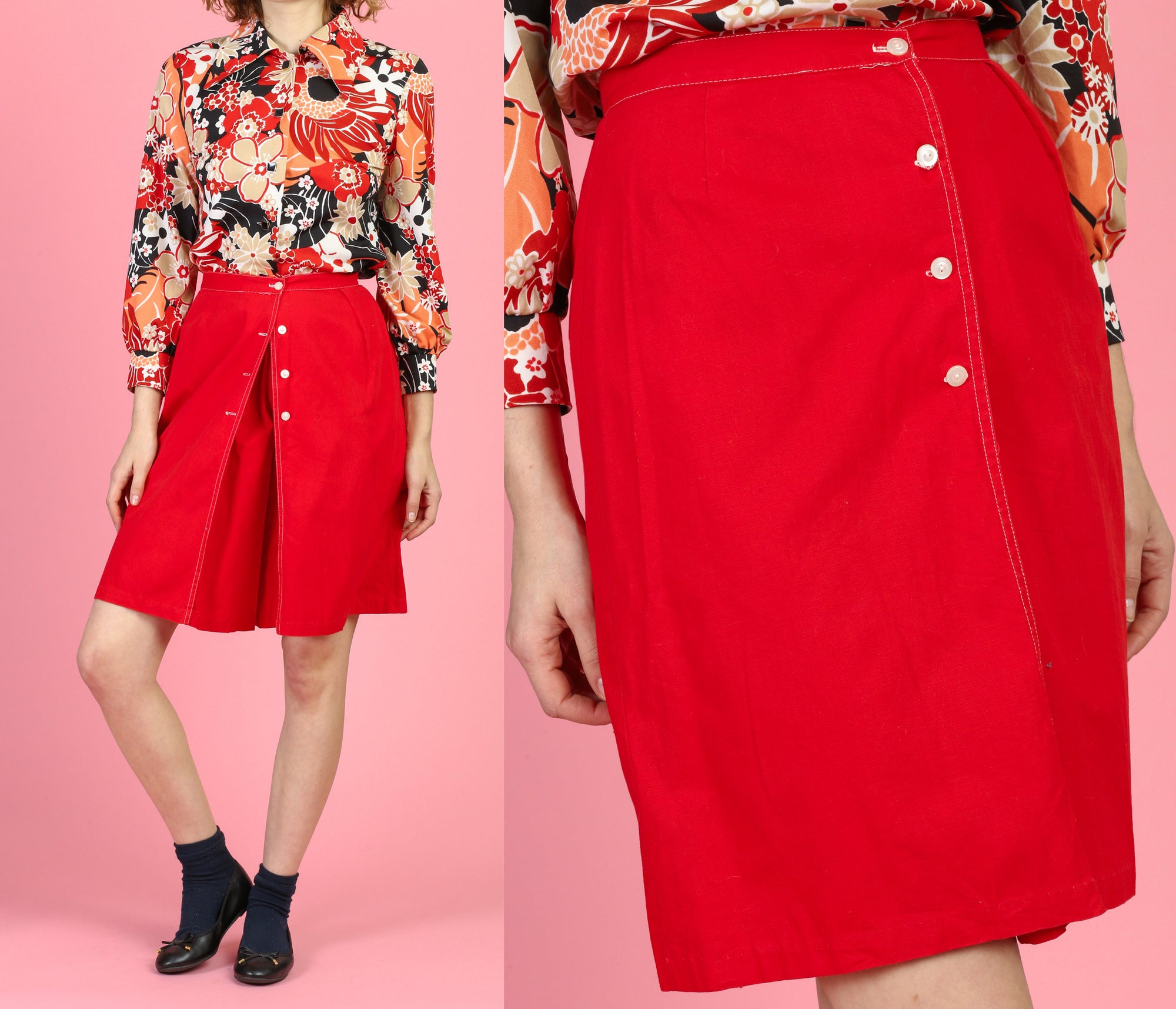 70s High Waisted Red Skort - XS to Small