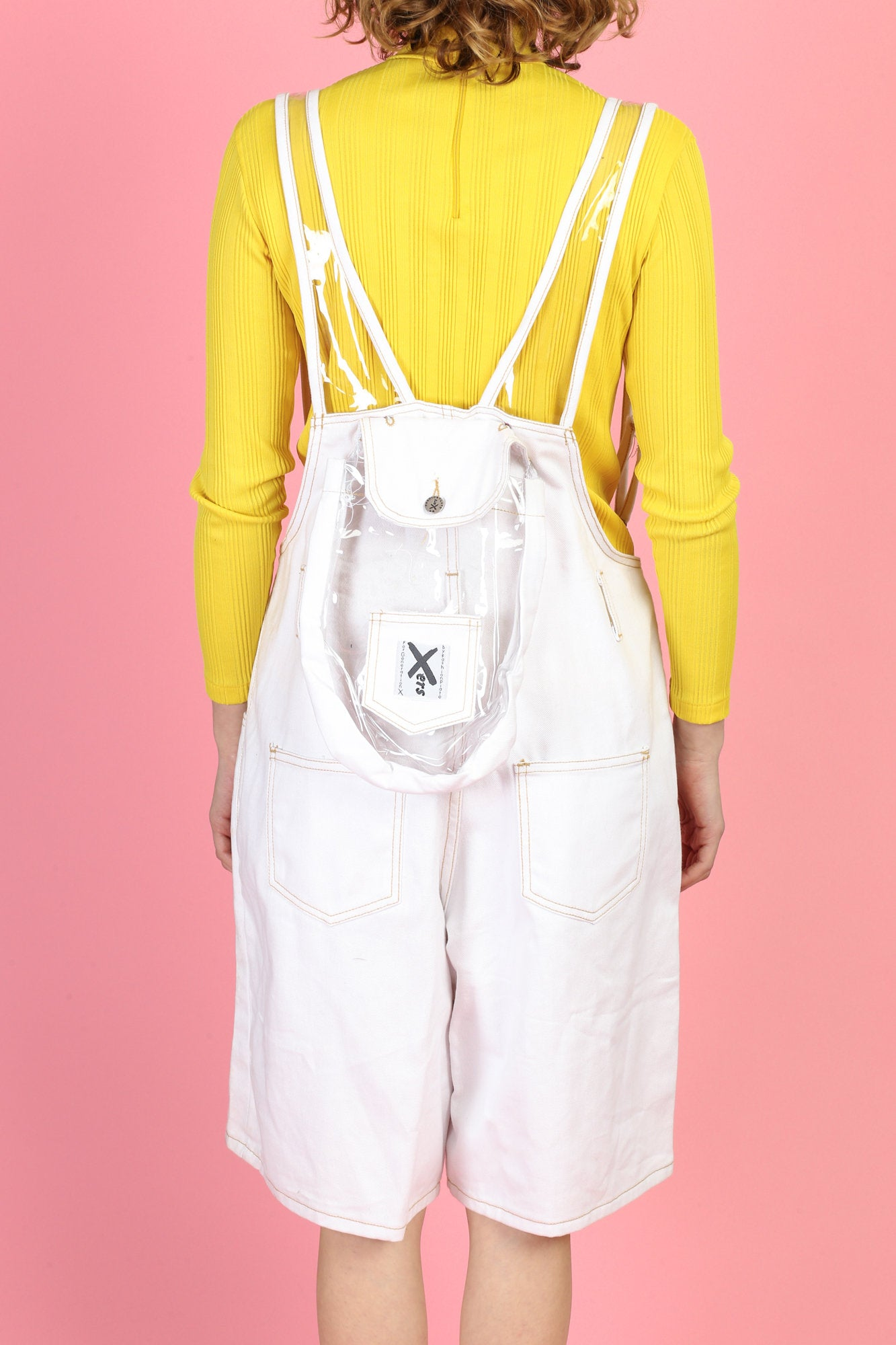 90s Xers White Denim & PVC Backpack Overall Shorts - Extra Large