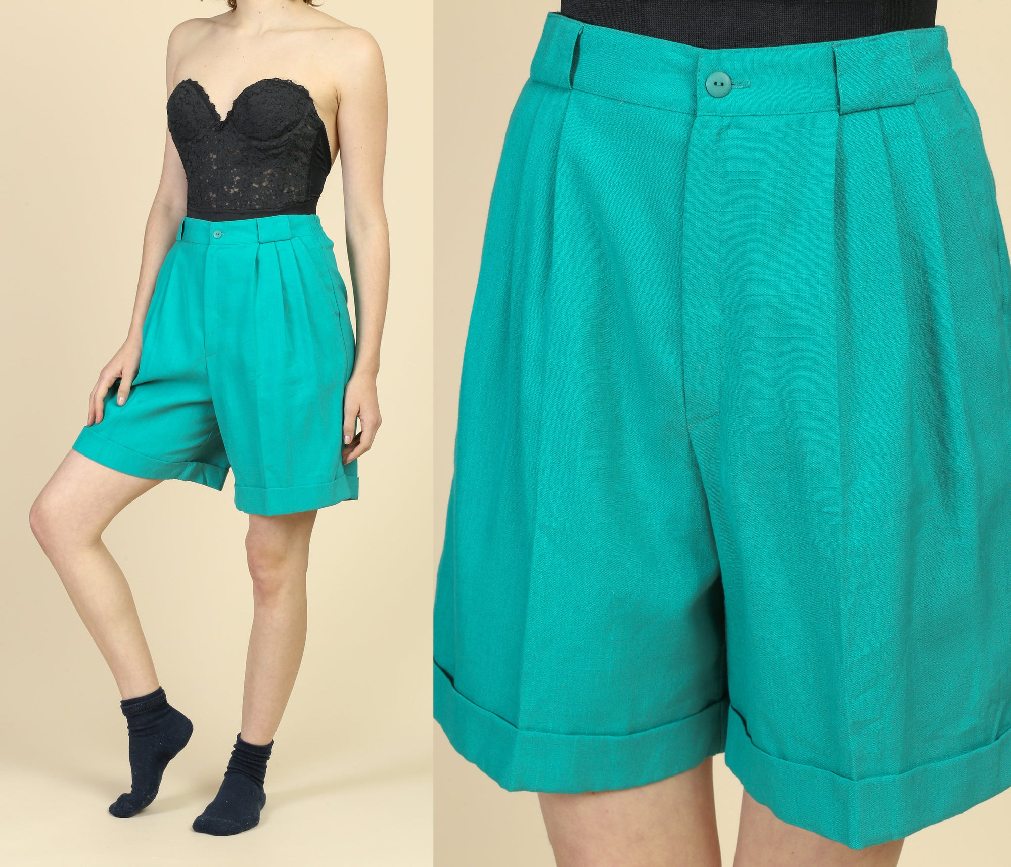 80s Teal High Waist Trouser Shorts - Medium