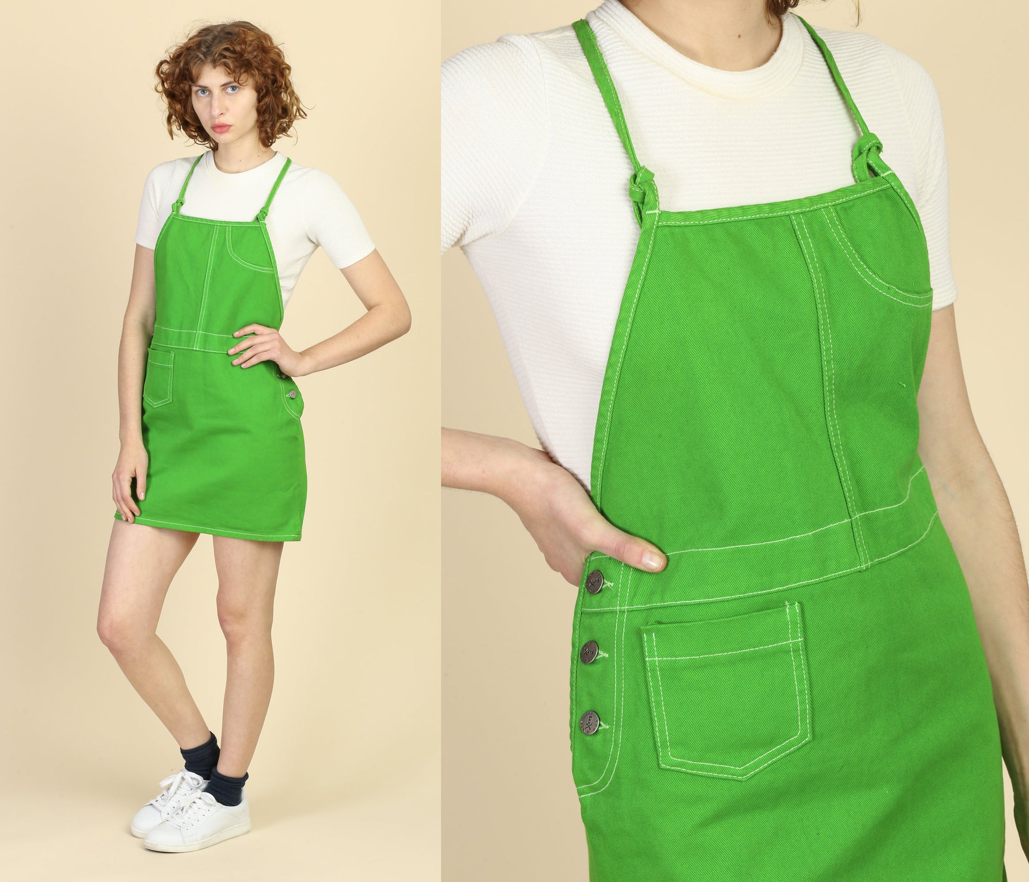 90s Kelly Green Denim Pinafore Dress, Deadstock - Small, Medium, Large