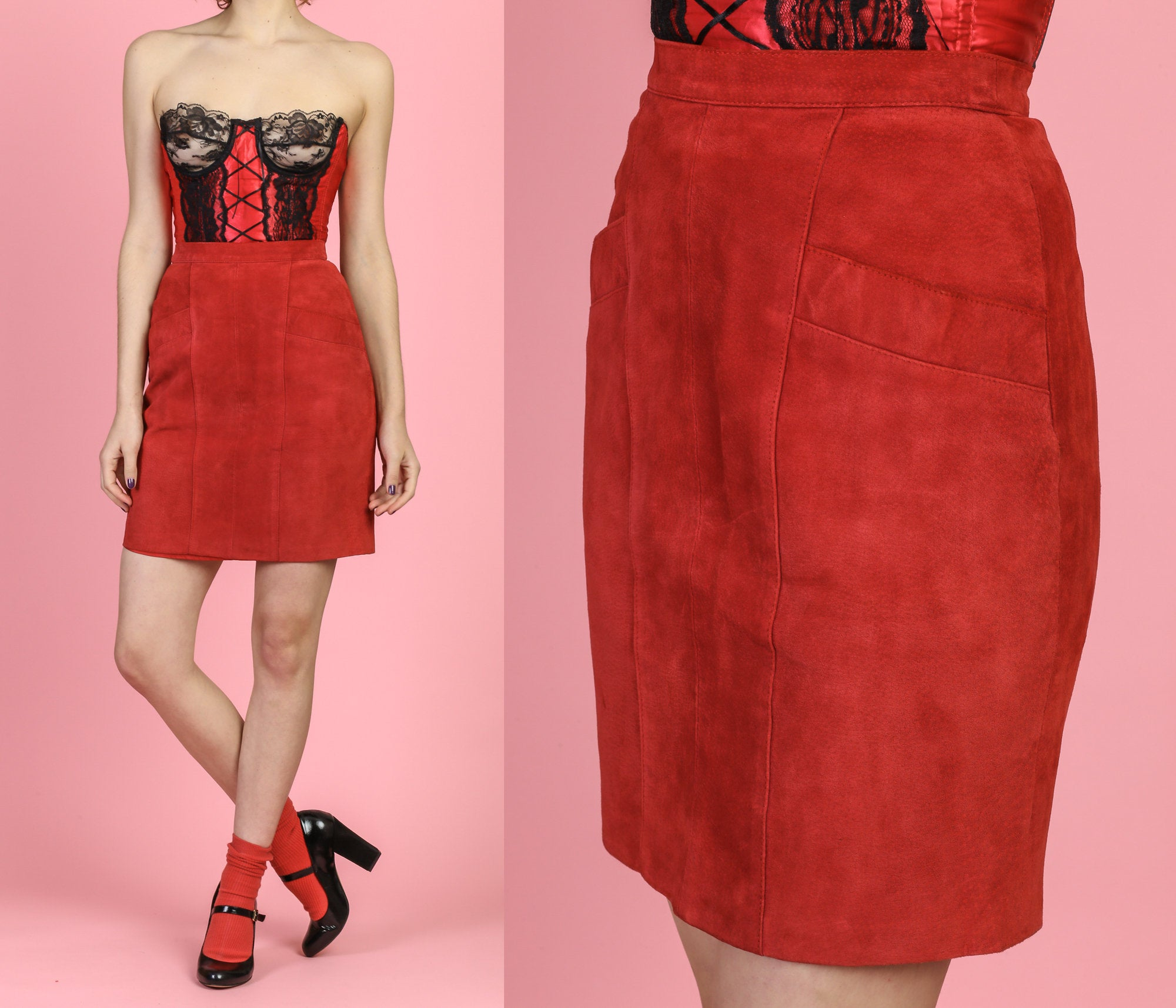 Vintage Red Suede Mini Skirt - Extra Small