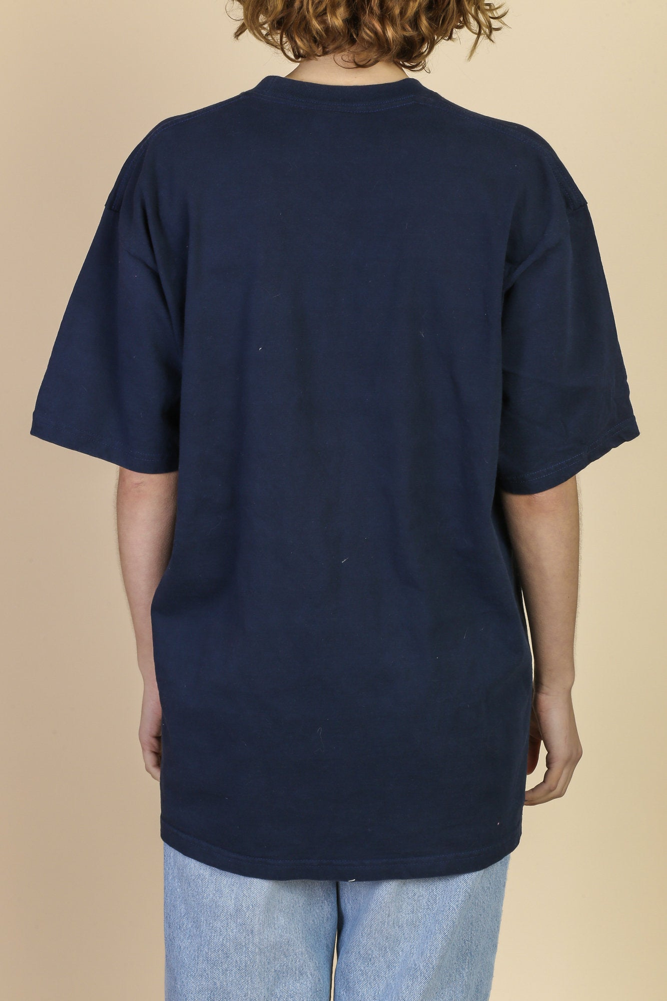 90s Oversized Navy Blue T Shirt - Men's Extra Large