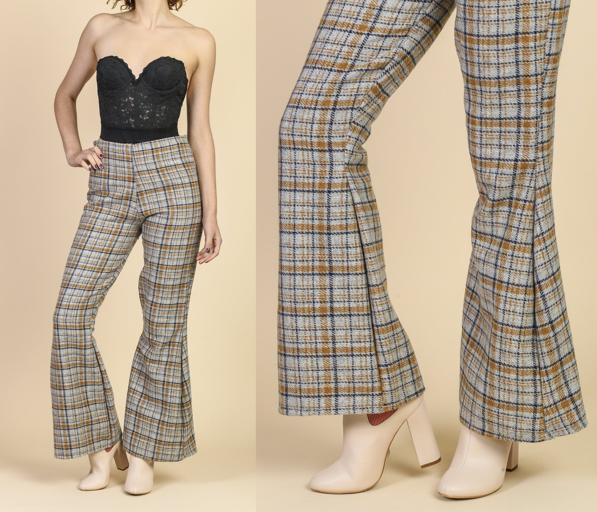 Brownbeige bell long trousers Made in Greece In excellent vintage condition. low waist retro pants 70s plaid pants M size