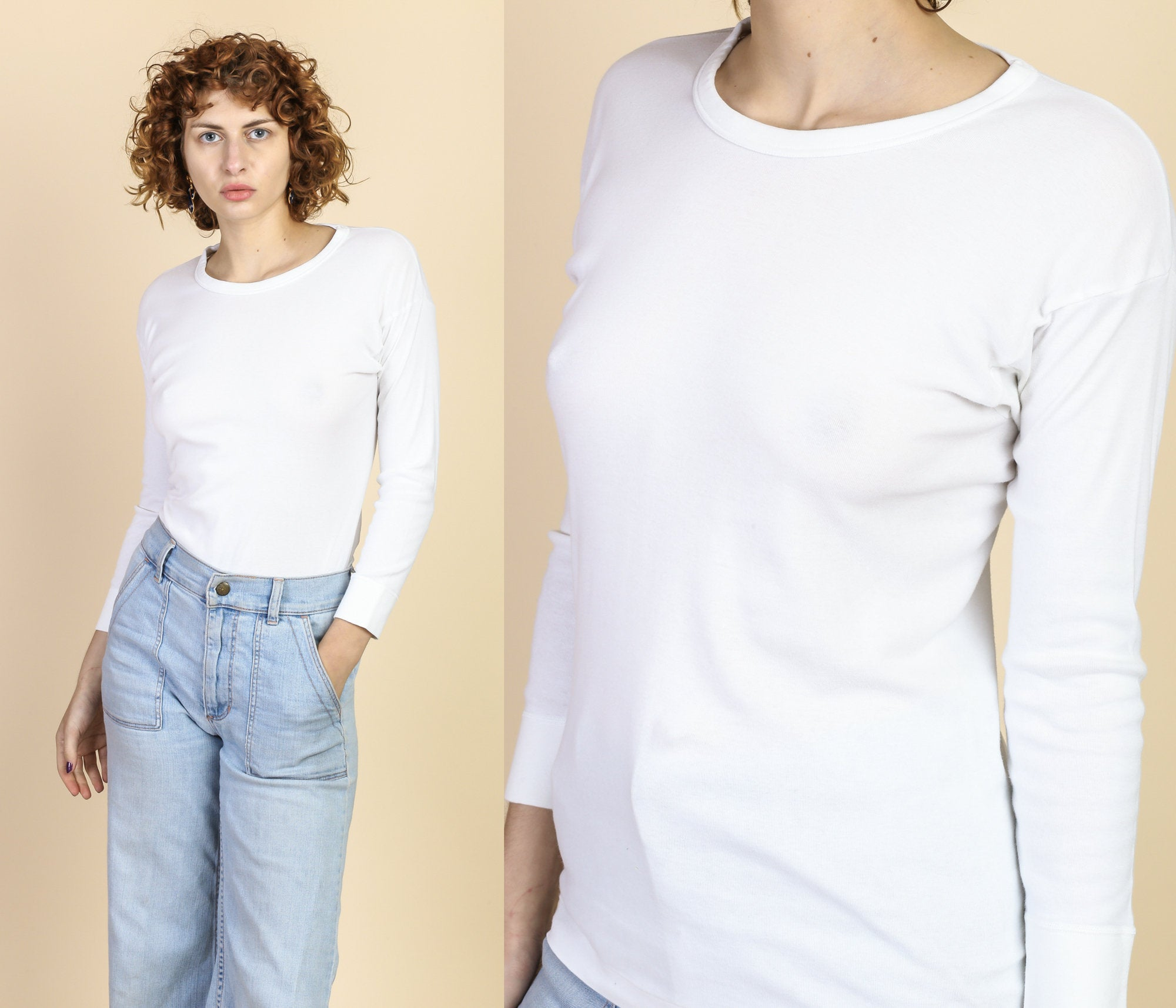 80s White Long Sleeved Shirt - Large