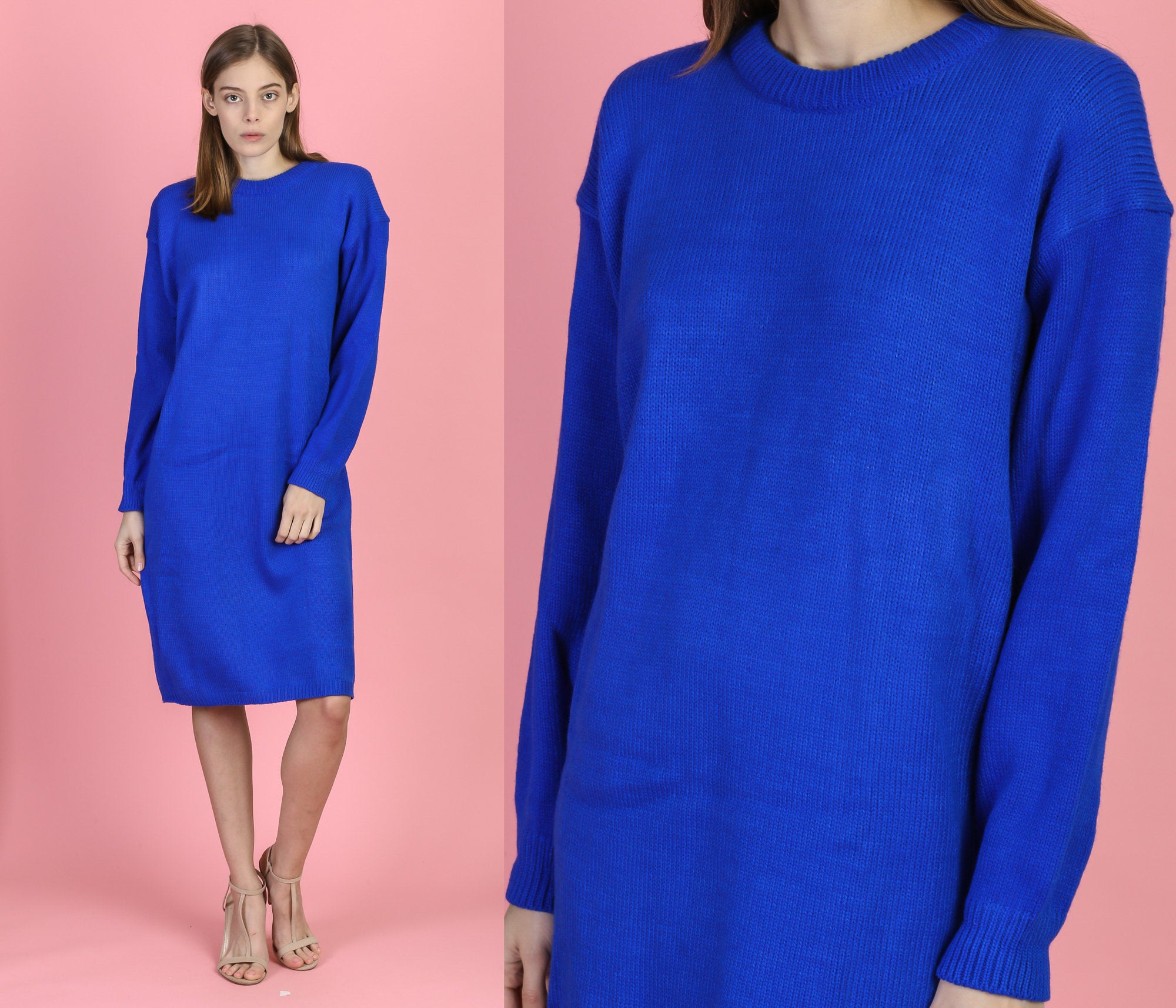 80s Royal Blue Sweater Dress - Medium