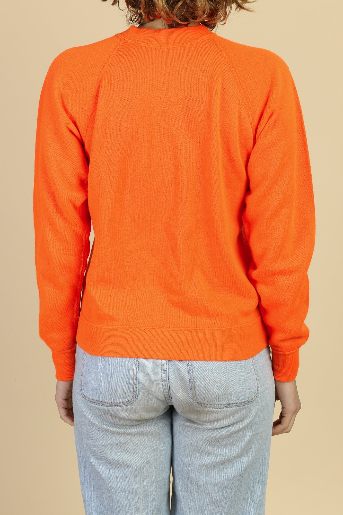 80s Bright Orange Raglan Sleeve Sweatshirt - Small