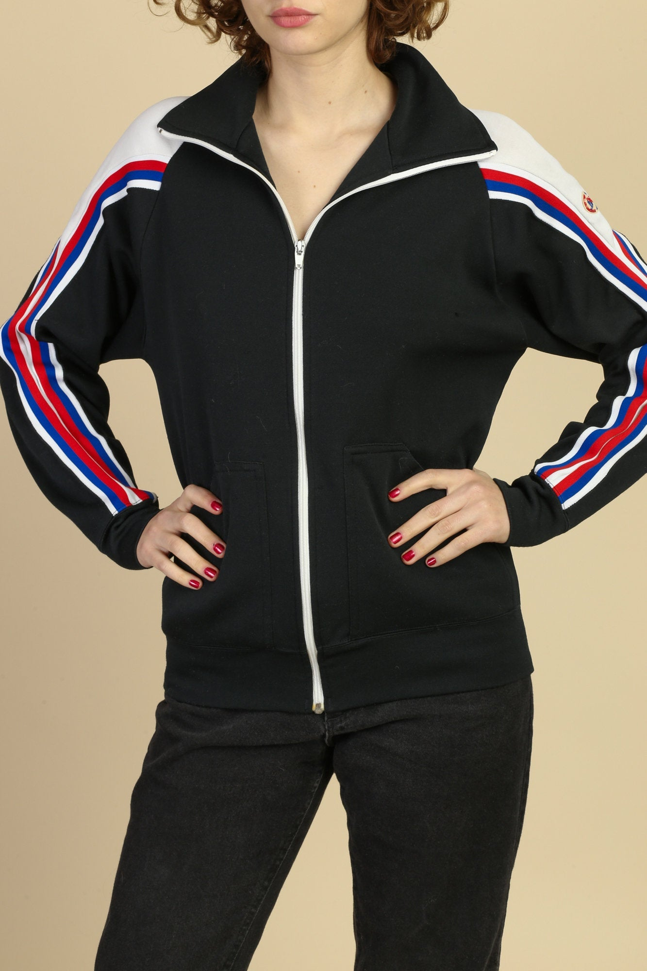 80s Bruce Jenner Sports In Motion Track Jacket - Large