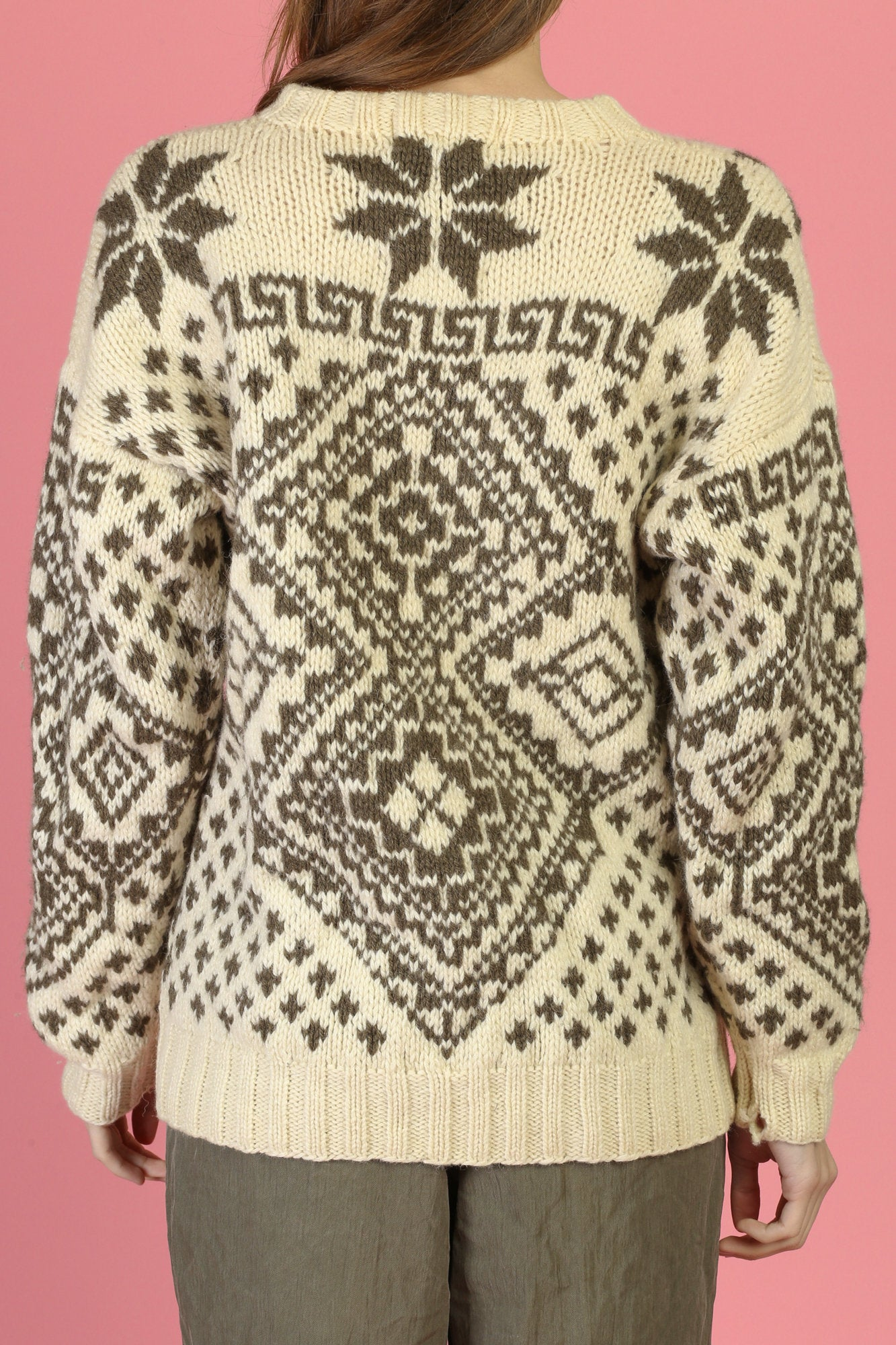 Vintage Hand Knit Cowichan Snowflake Sweater - Medium