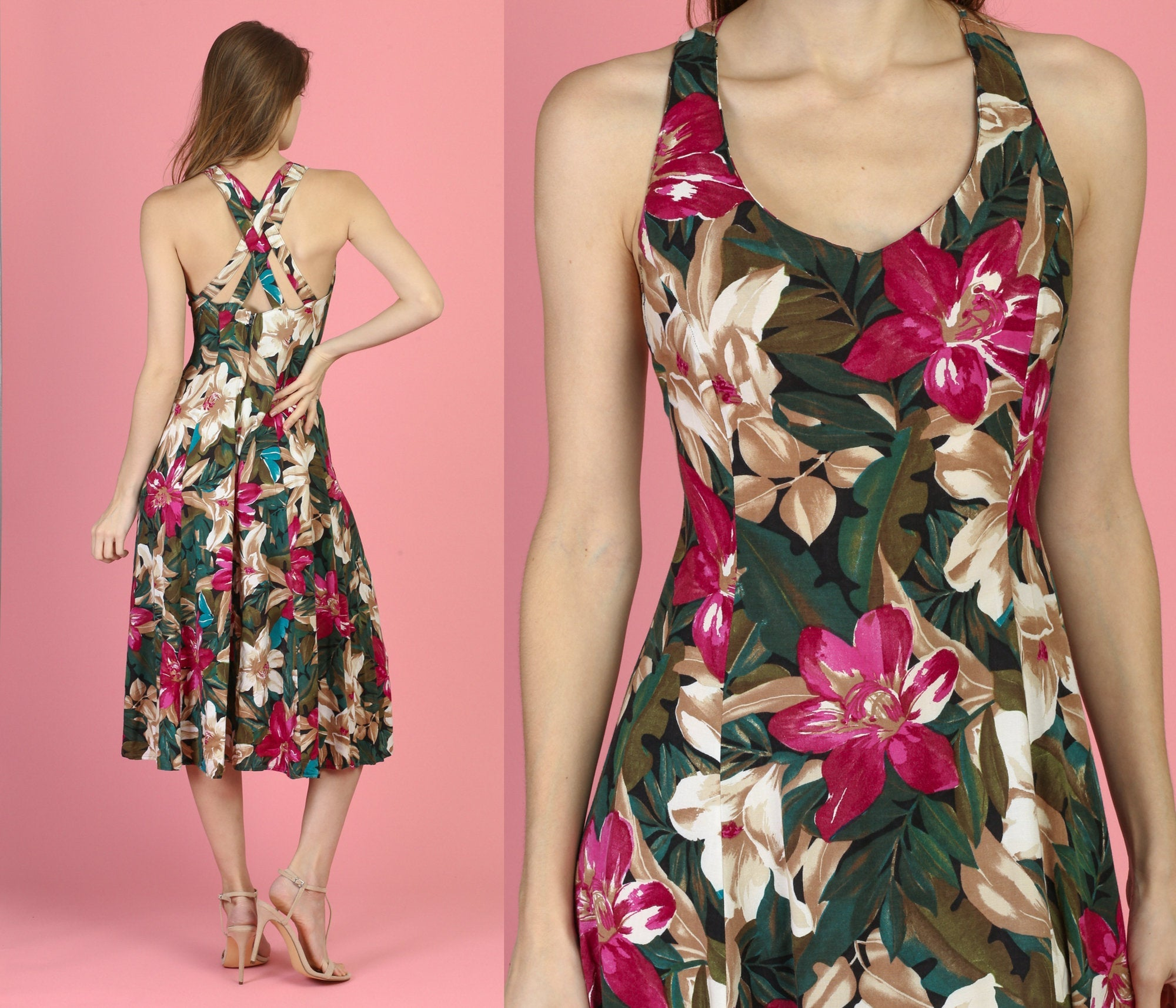 90s Cross Back Floral Sundress - XS to Small