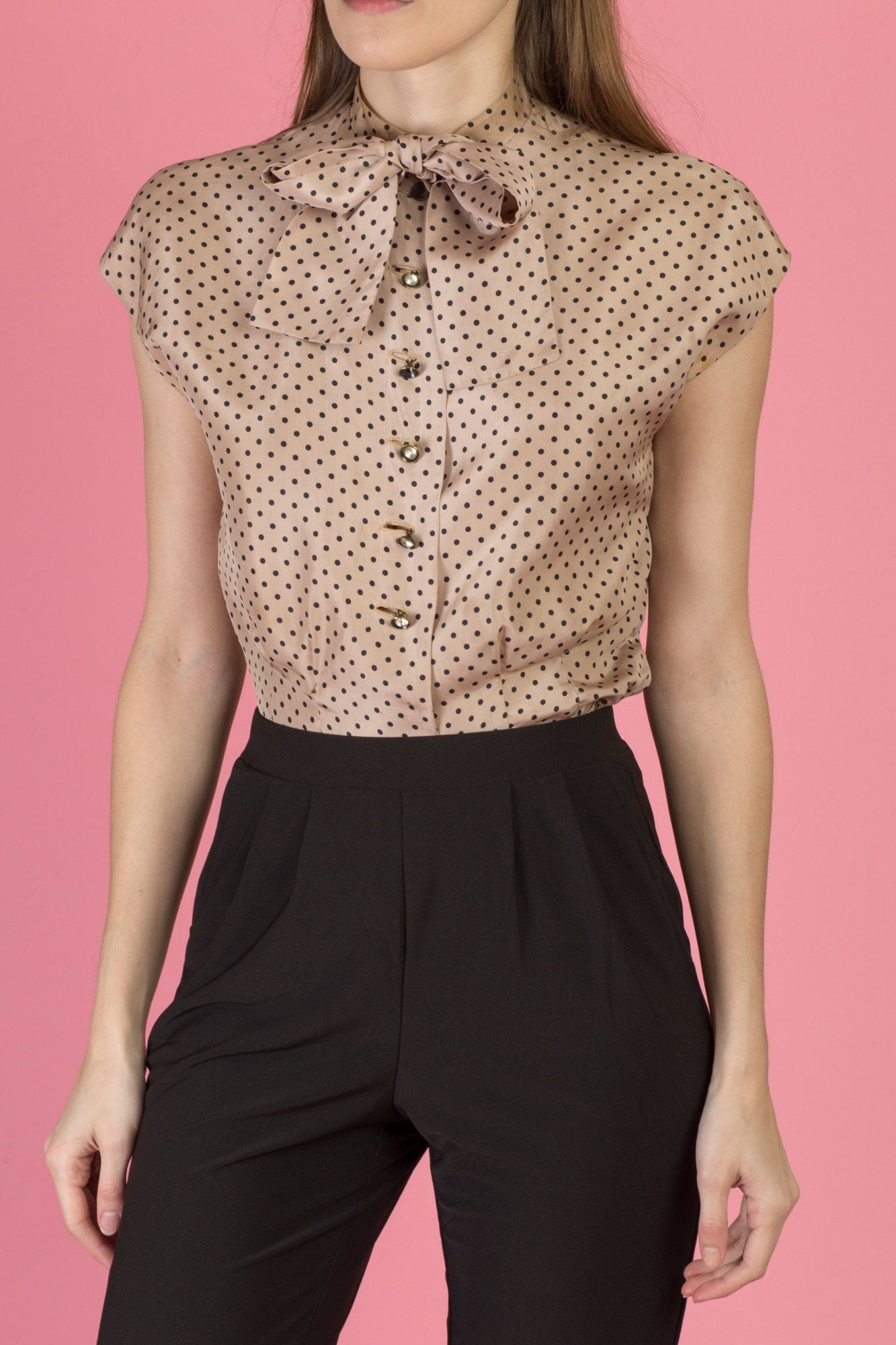 1950s Cropped Polka Dot Blouse - Small