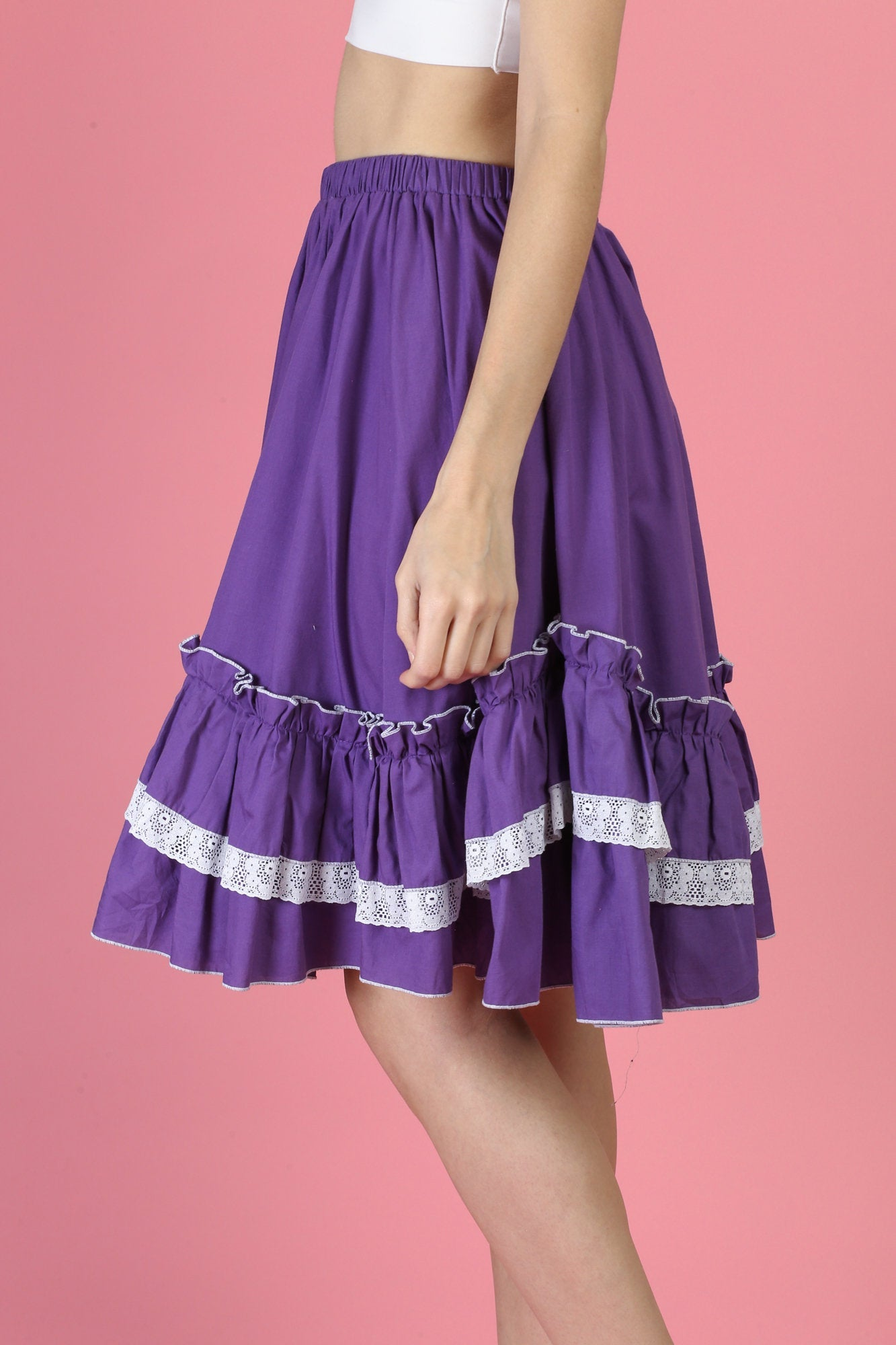 Vintage Purple Ruffle Square Dance Skirt - Small to medium