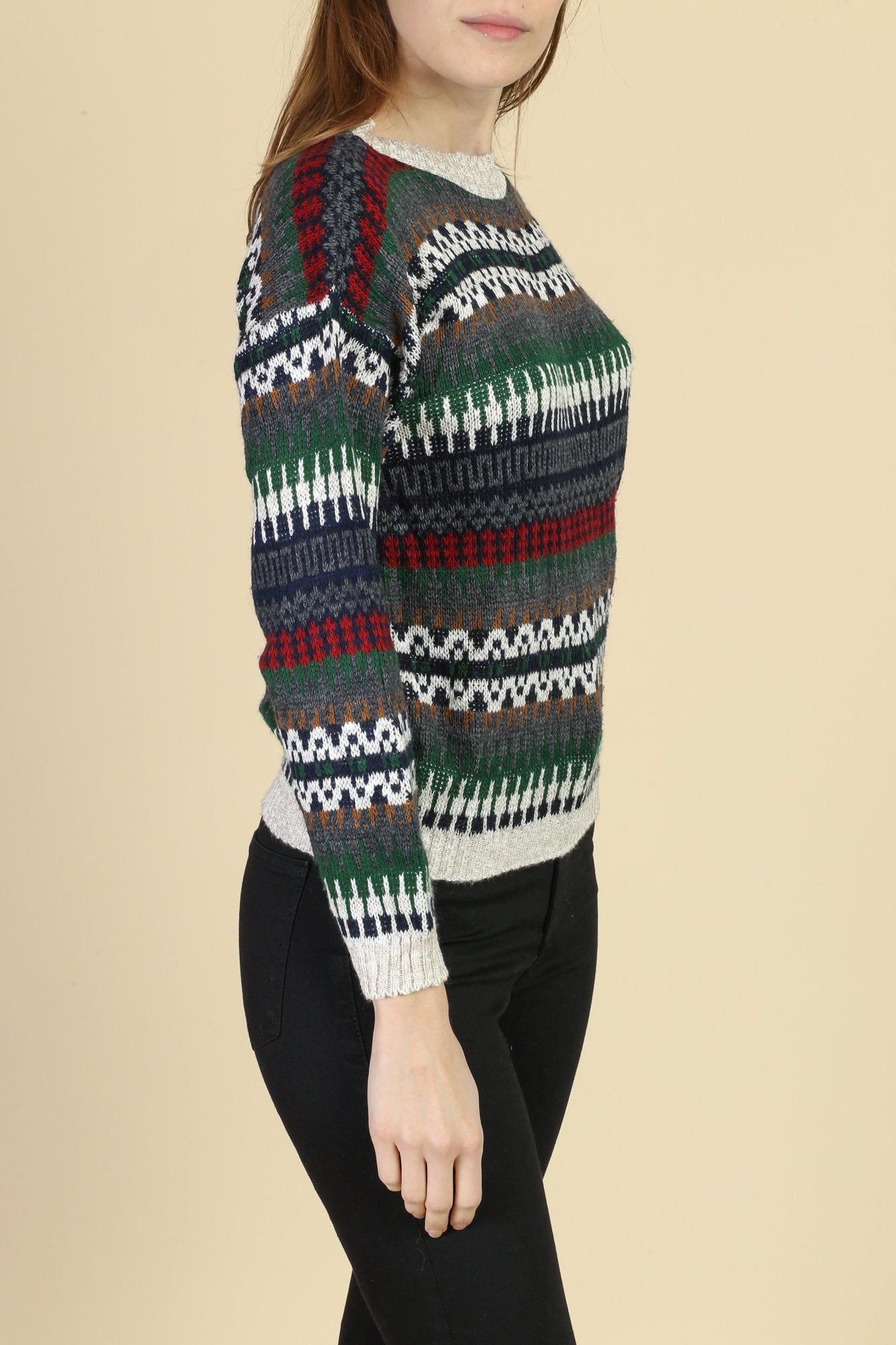 90s Striped Knit Sweater - Small/Petite