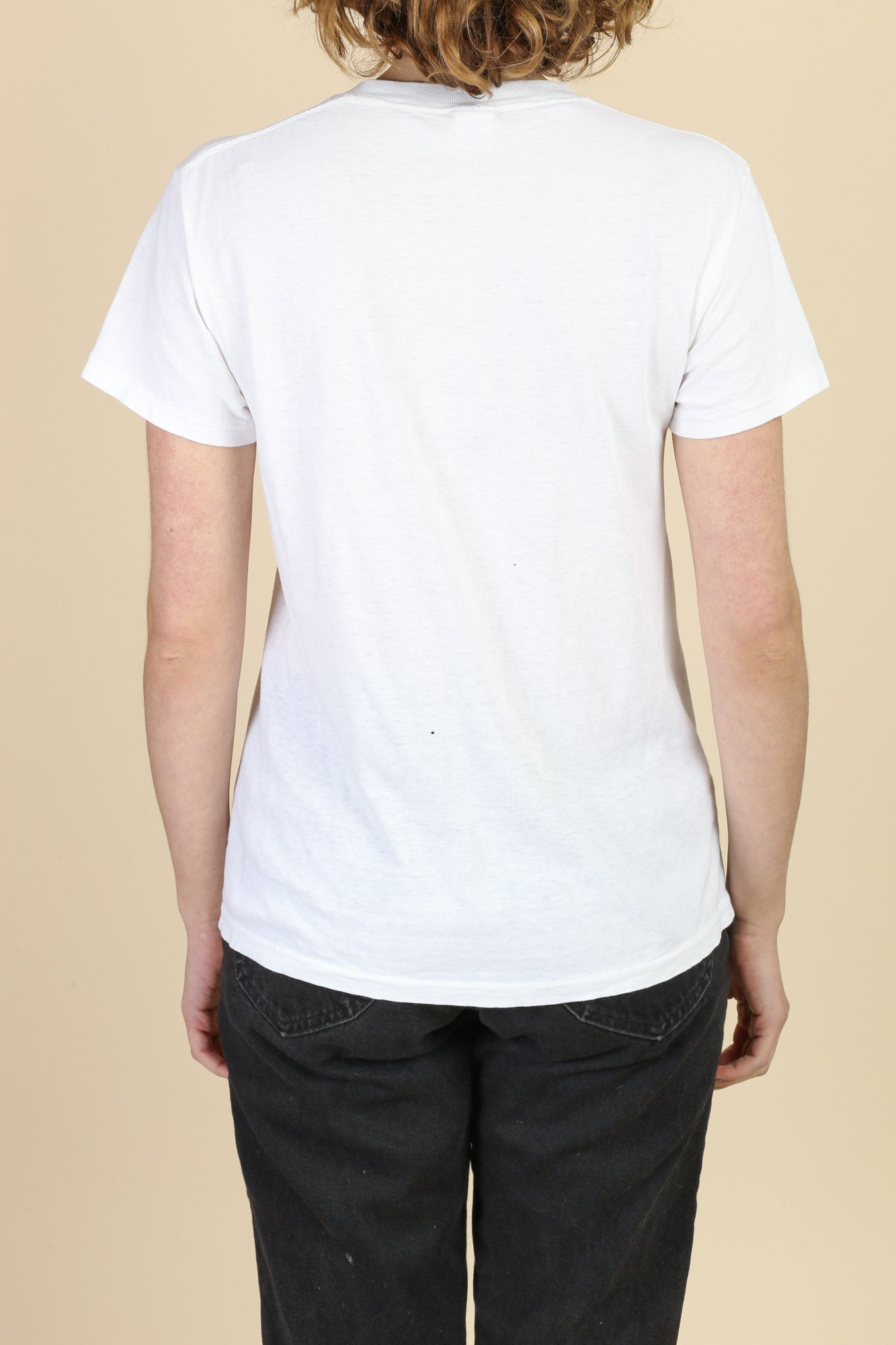 90s White Crew Neck Tee - Men's Medium