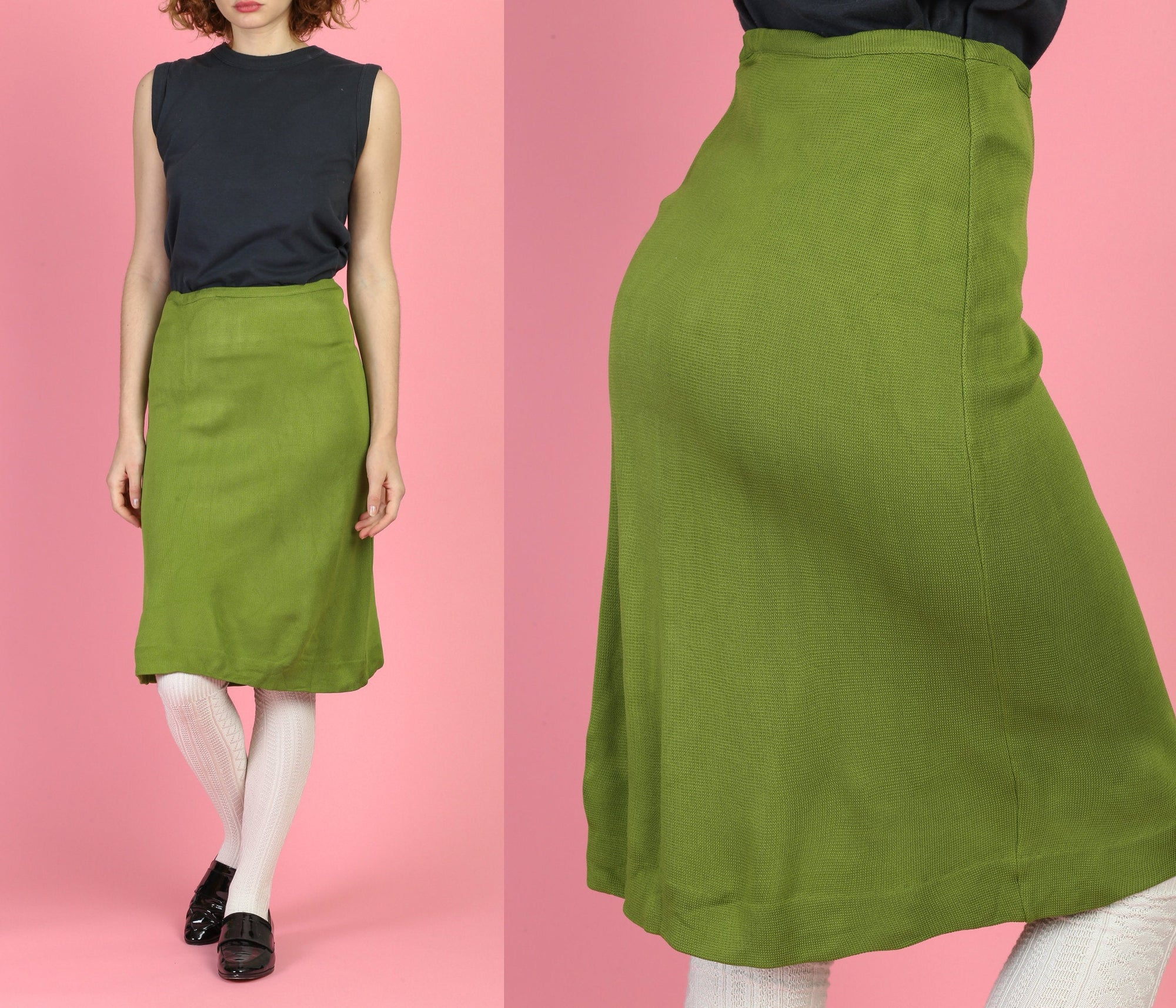 60s Olive Knit A Line Skirt - Medium