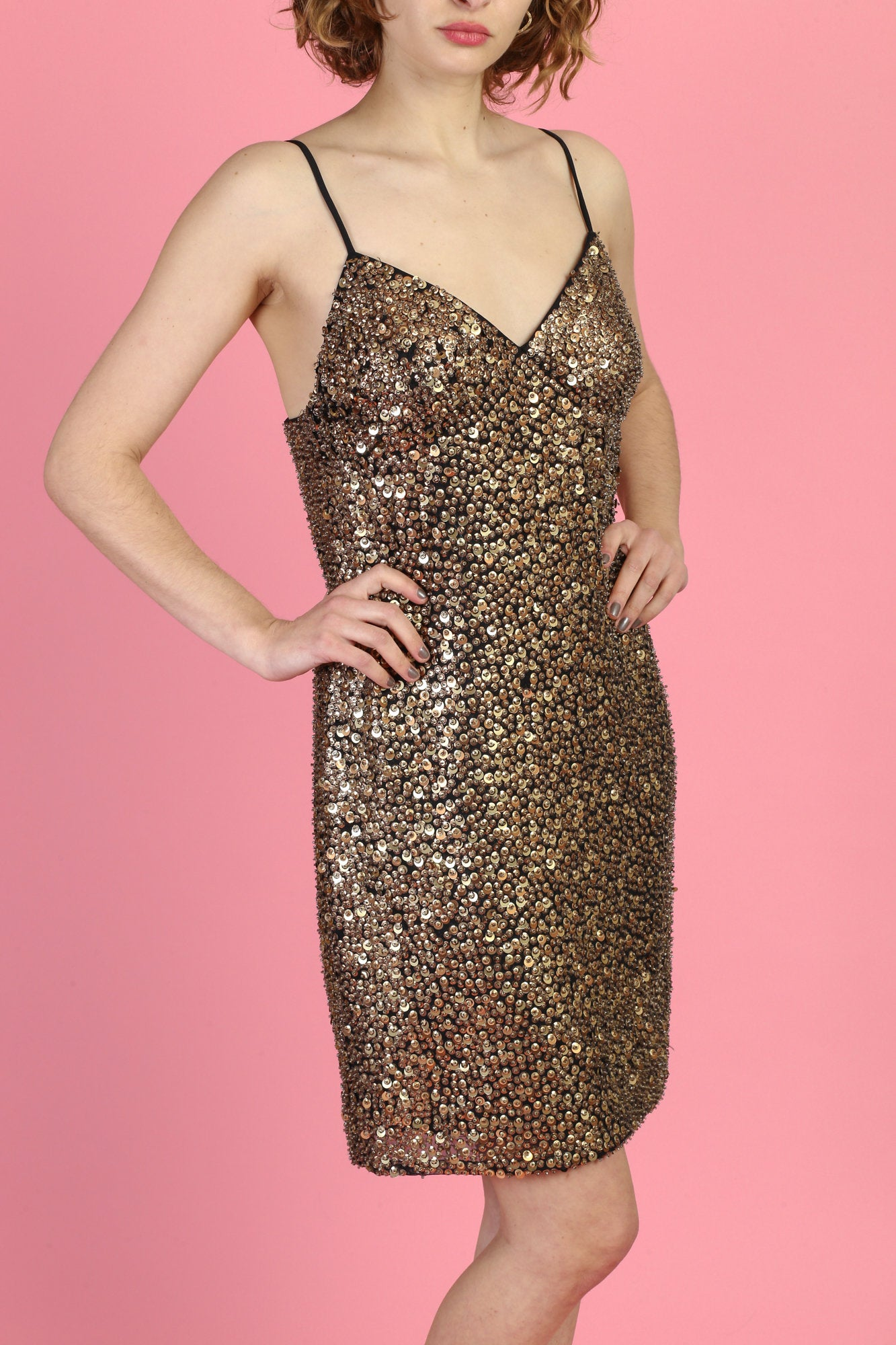 Alberto Makali Gold Beaded Mini Dress - Large, 12