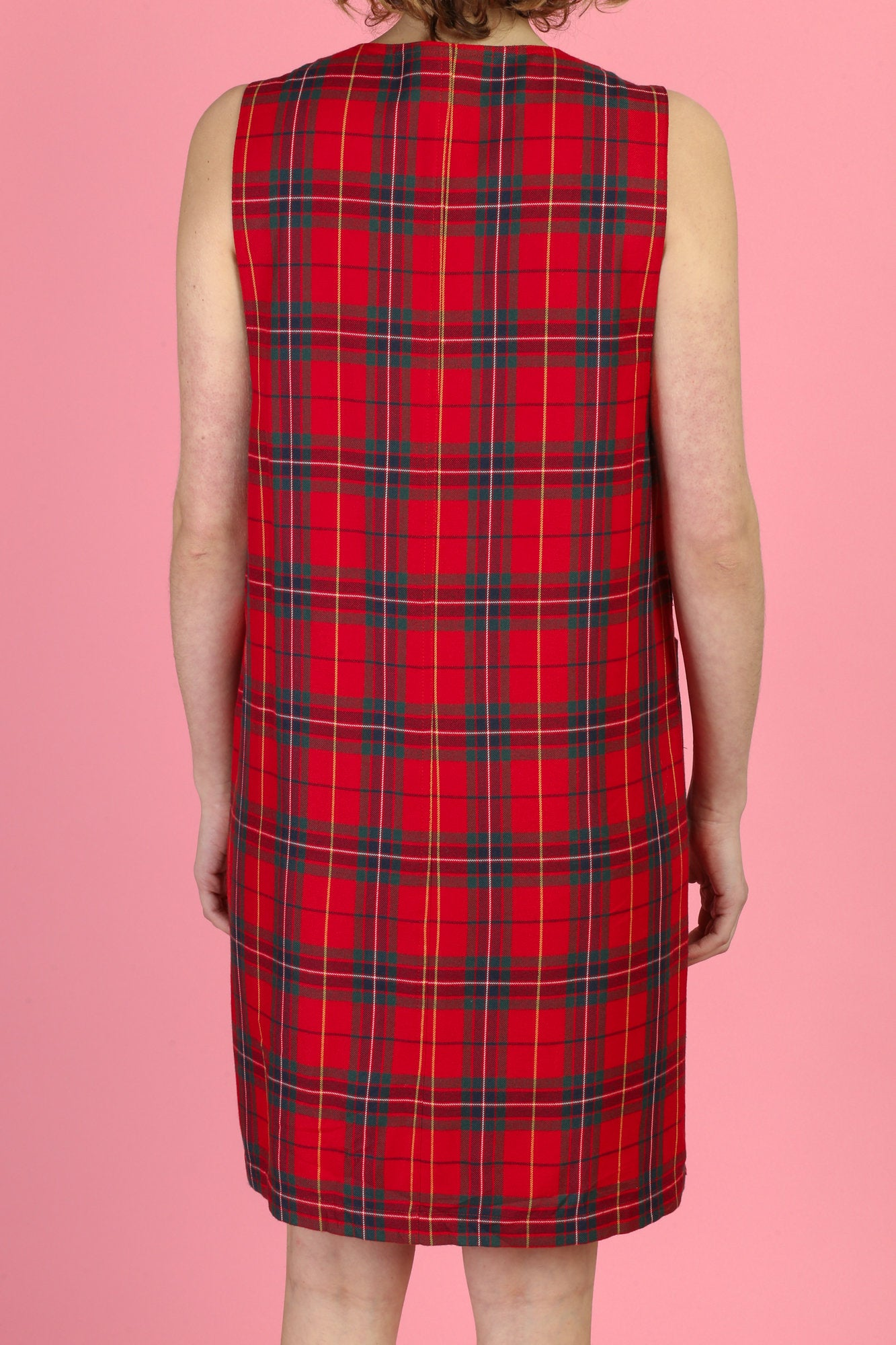 90s Red Plaid Pinafore Dress - Medium