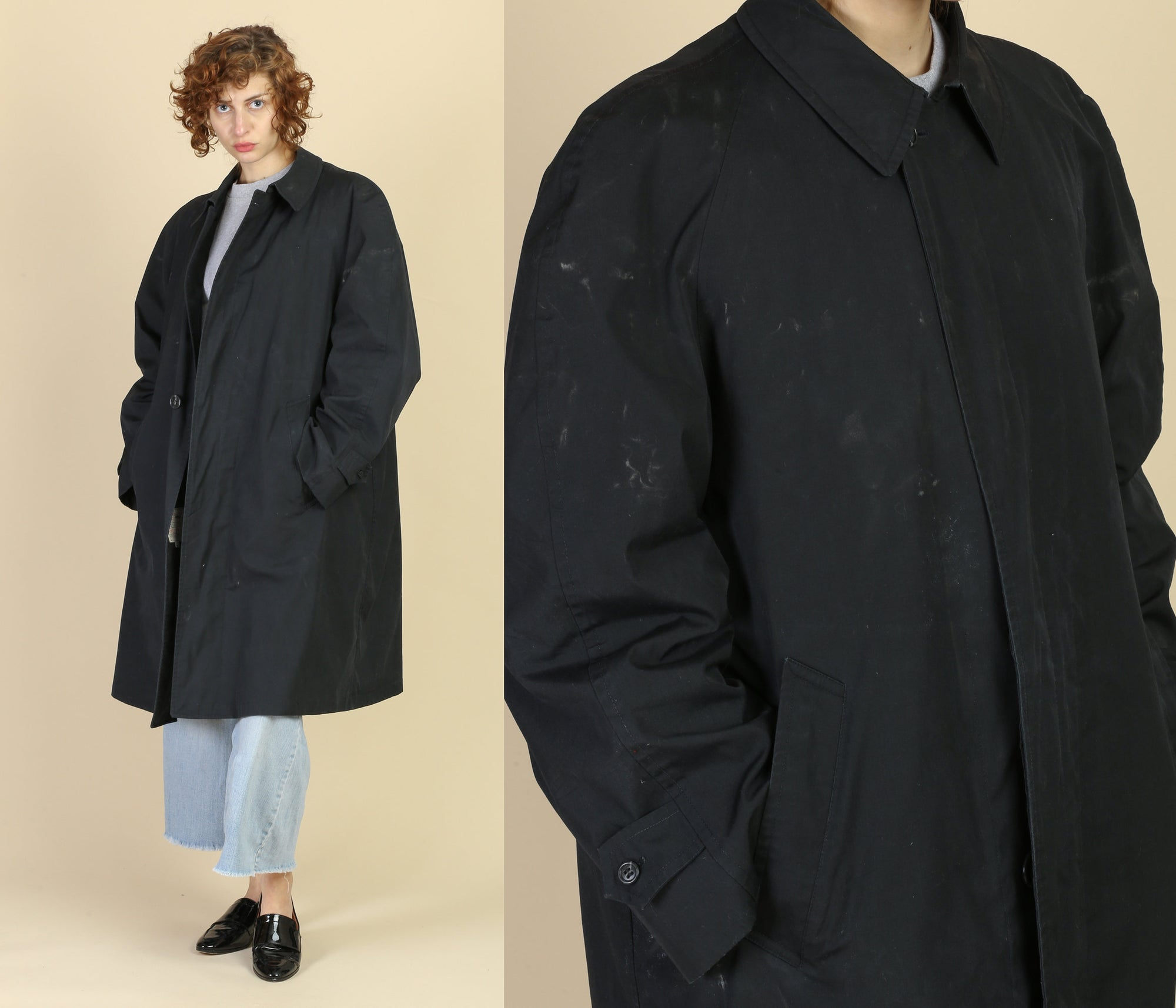 Vintage Black London Fog Overcoat - Men's Large, 42