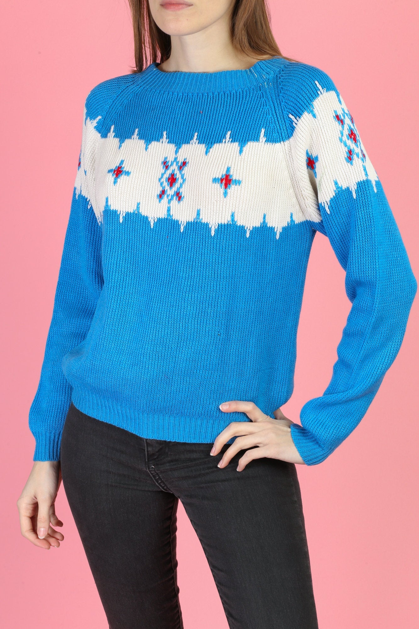 80s Blue Knit Sweater - Extra Small
