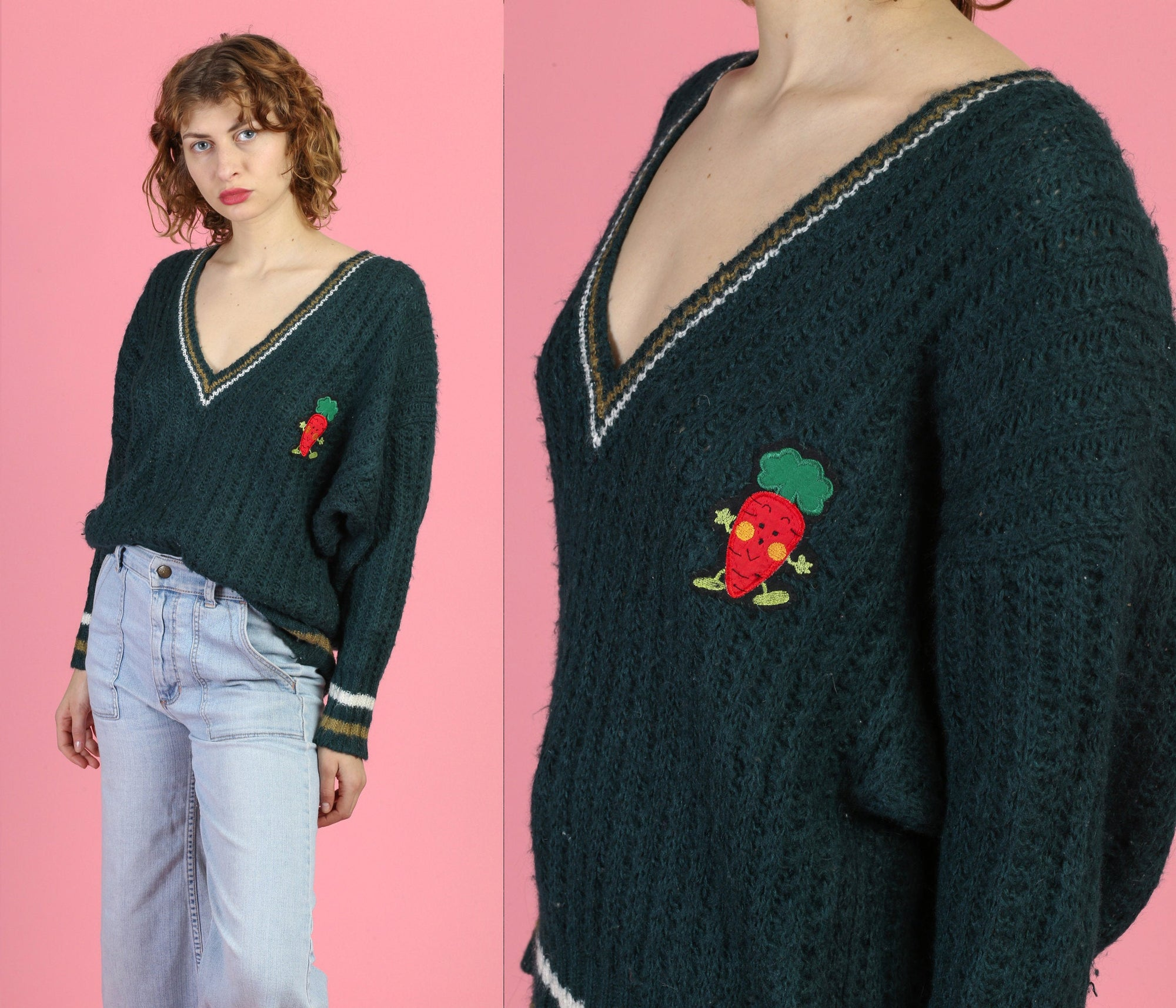 80s V Neck Carrot Sweater - Extra Large