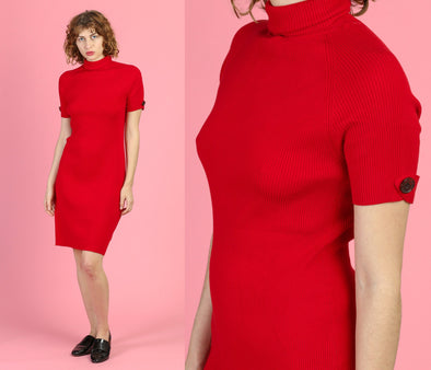 90s Moda International Red Knit Bodycon Dress - Large
