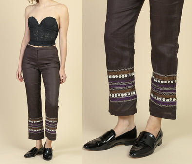 Vintage French Connection Embroidered Abalone Button Trousers - 4, Small