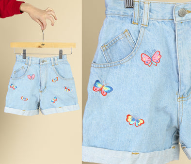 Vintage Girl's Butterfly Jeans Shorts - Size 8