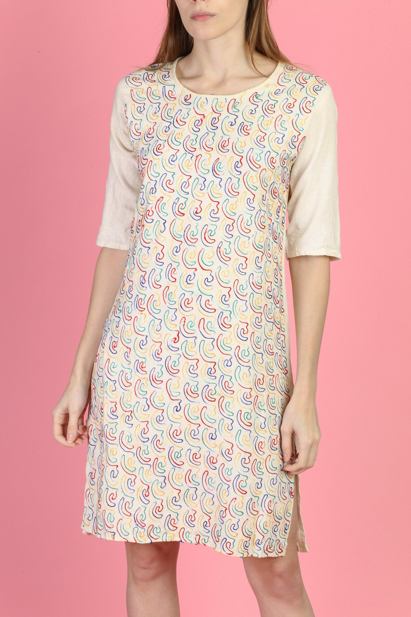 Vintage Indian Embroidered Kurti Dress - Extra Small