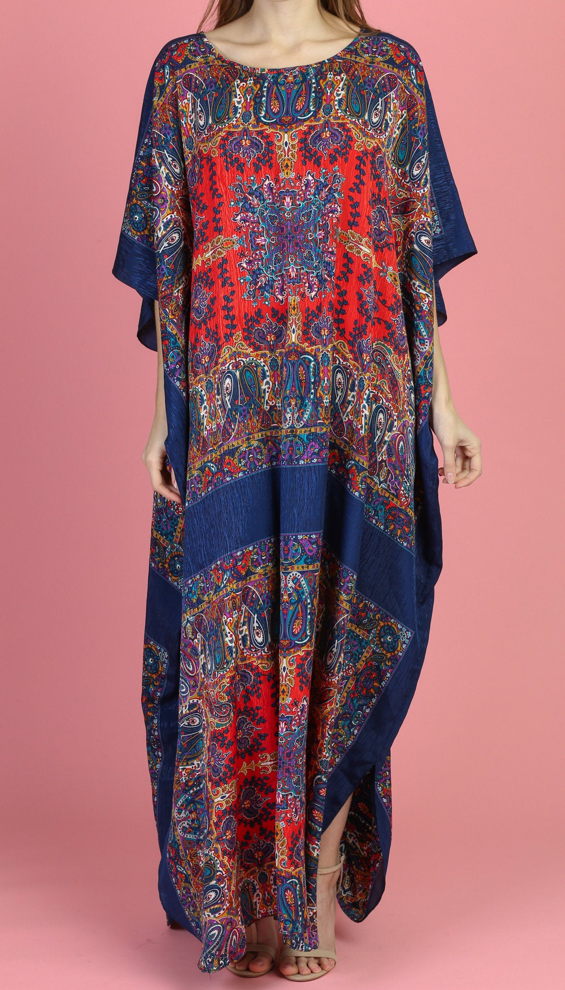 70s David Brown California Boho Paisley Kaftan Dress - Small