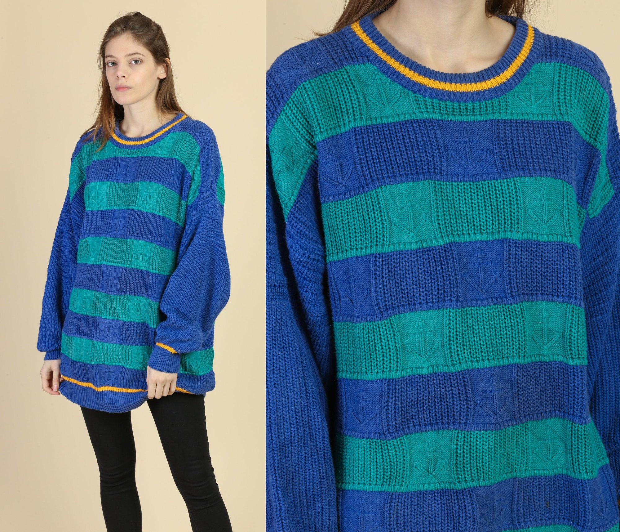 90s Oversize Knit Anchor Sweater - XXL
