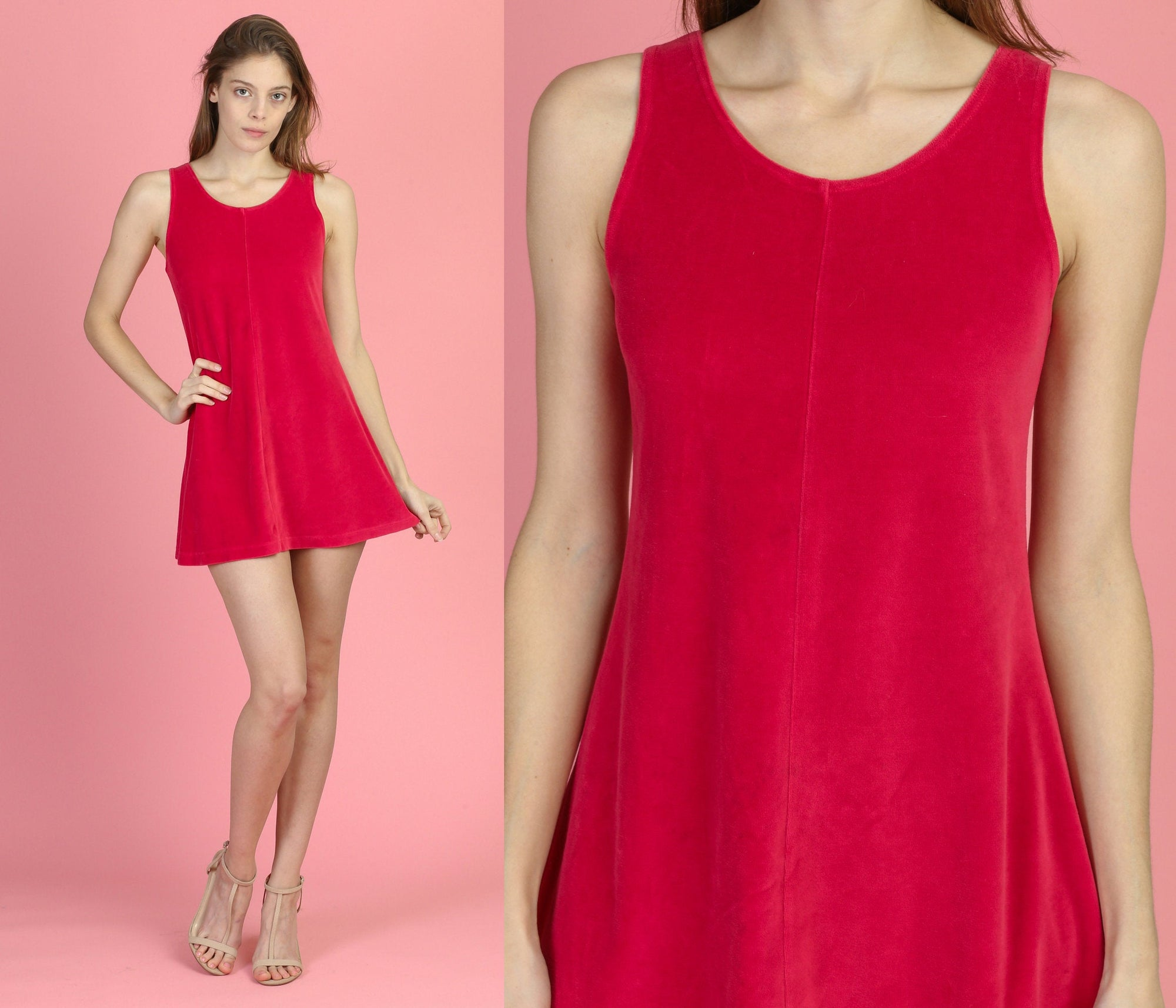 90s Raspberry Velour Mini Dress - Small