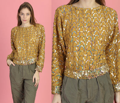 80s Gold Sequined Cropped Blouse - Medium to Large