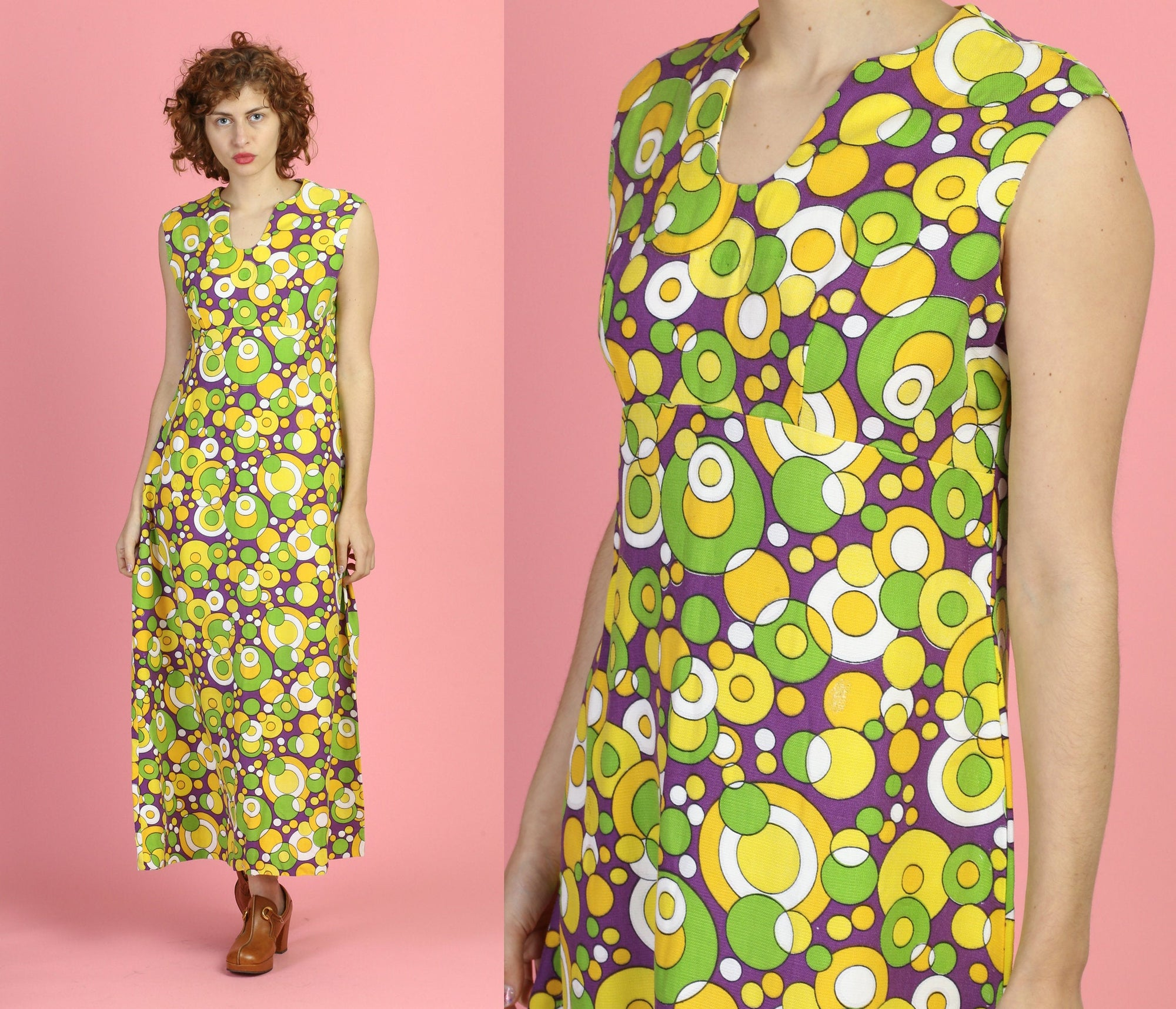 70s Psychedelic Maxi Dress - Large